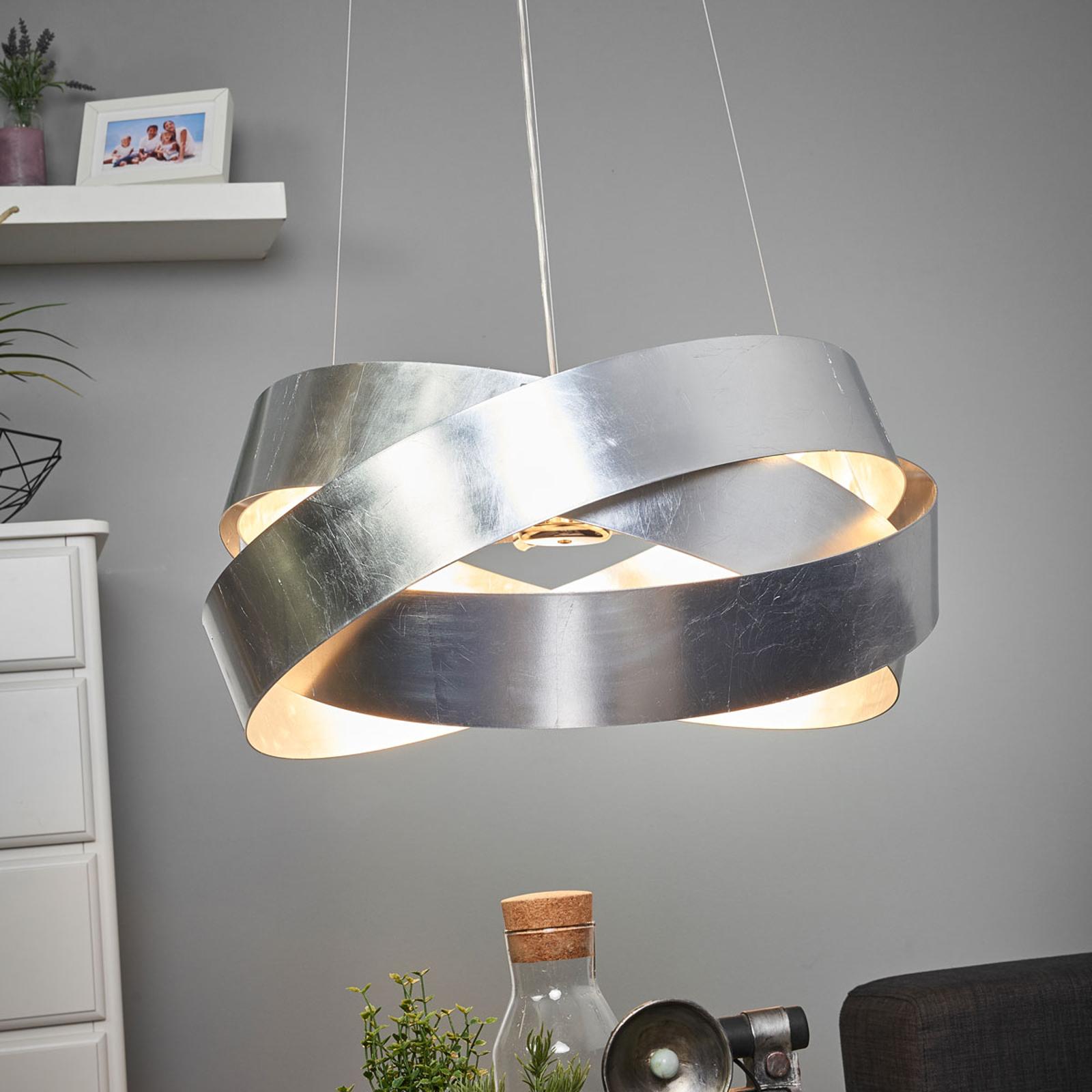 Lampa wisząca Pura z płatkowym srebrem 60cm, 8x G9
