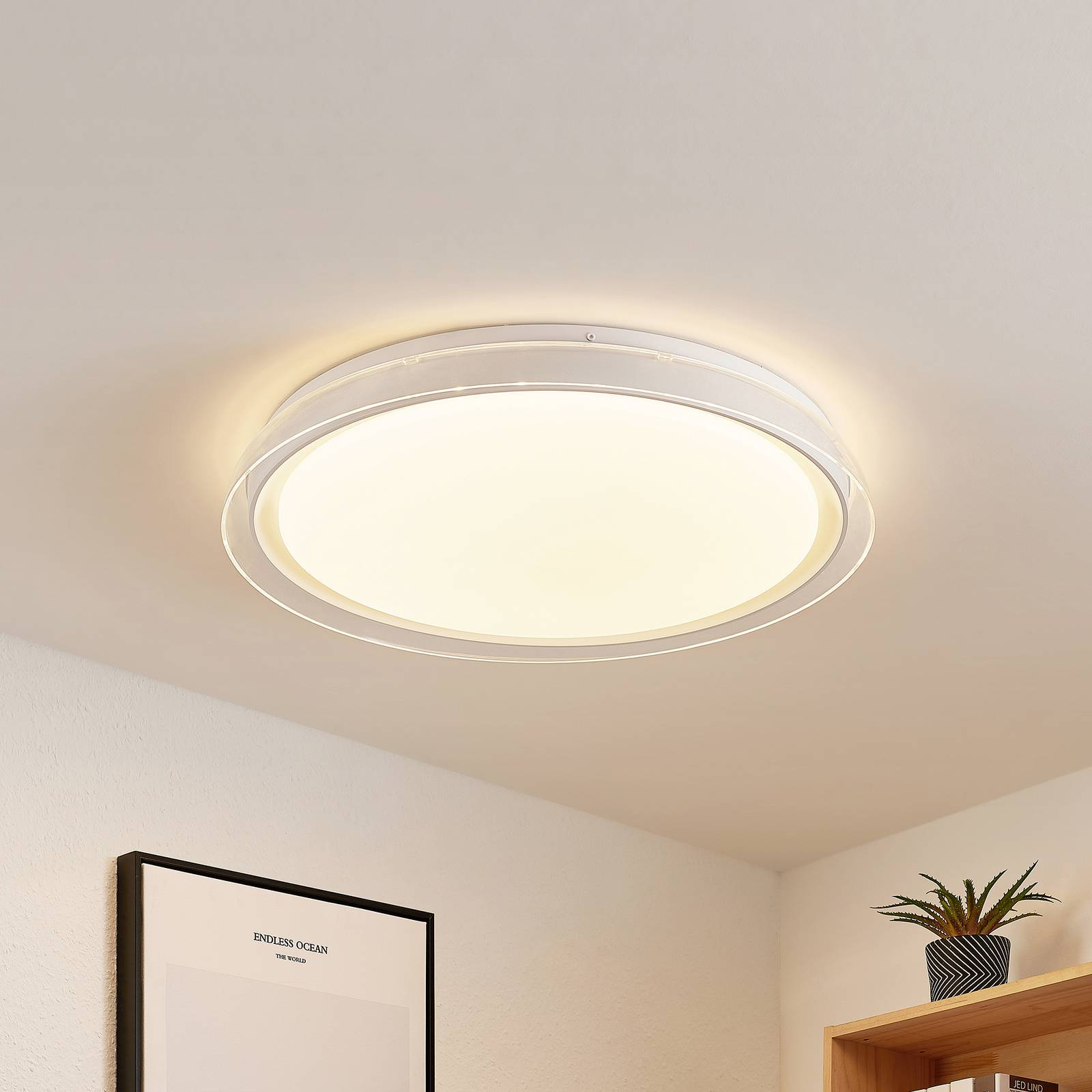 Lindby Sleya LED plafondlamp, CCT, dimbaar