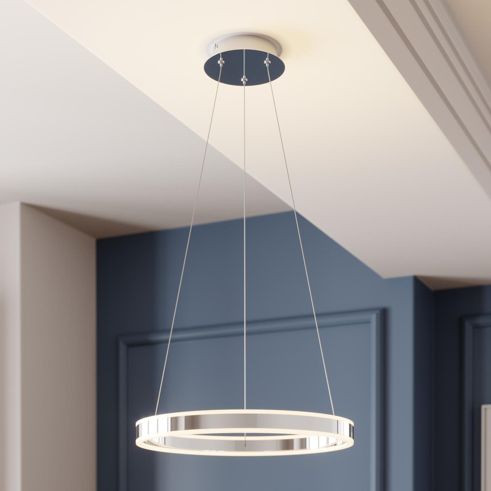 Lampa wisząca LED Lyani chrom, ściemniana, 50 cm