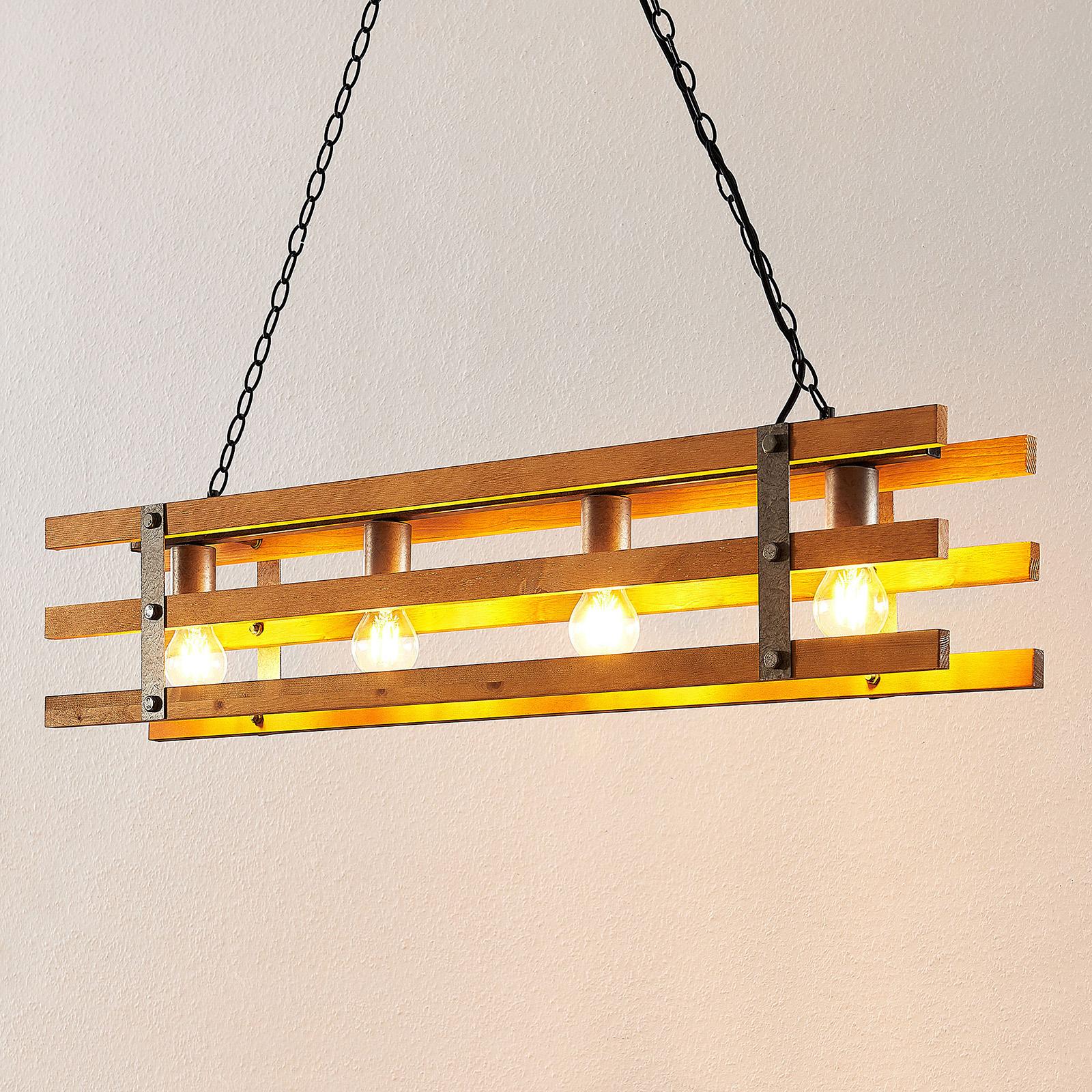 Lindby Jamina drewniana lampa wisząca, 4-punktowa