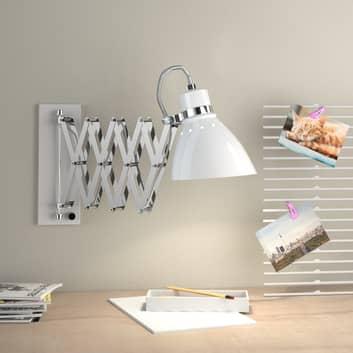 Lámpara de pared metal Kordian extensible, blanco