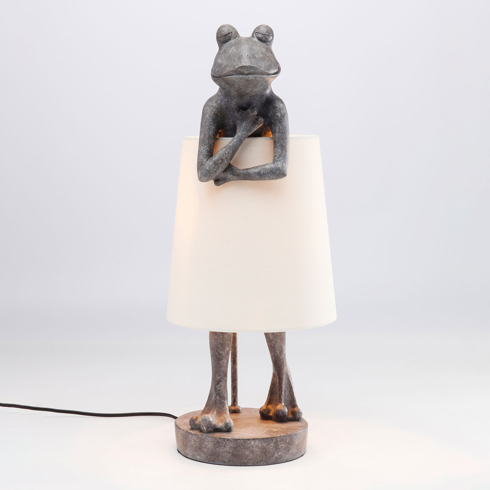 KARE Animal Frog lampada da tavolo grigia