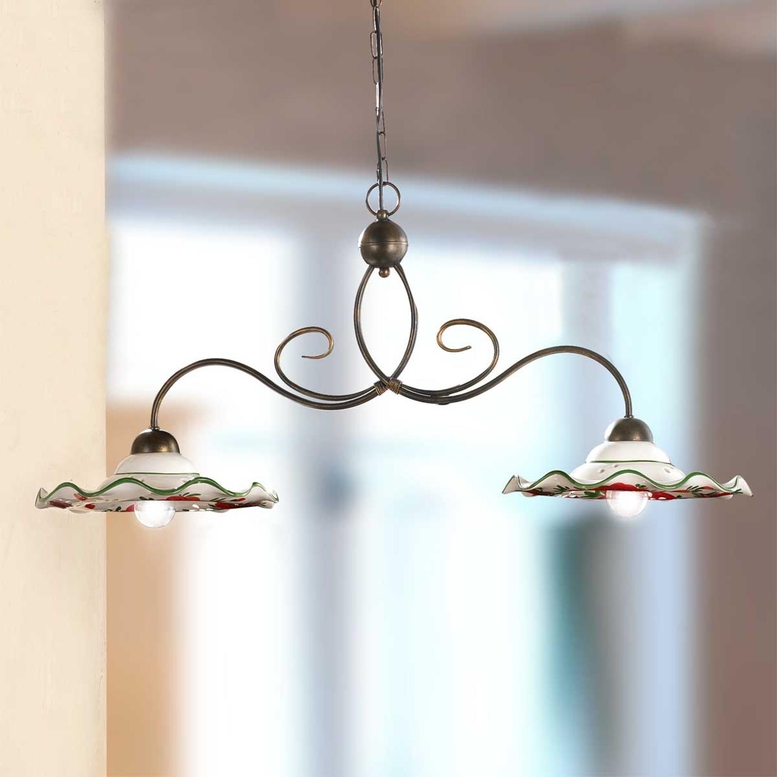 Hanglamp ROSOLACCI met keramieken kappen, 2-lichts