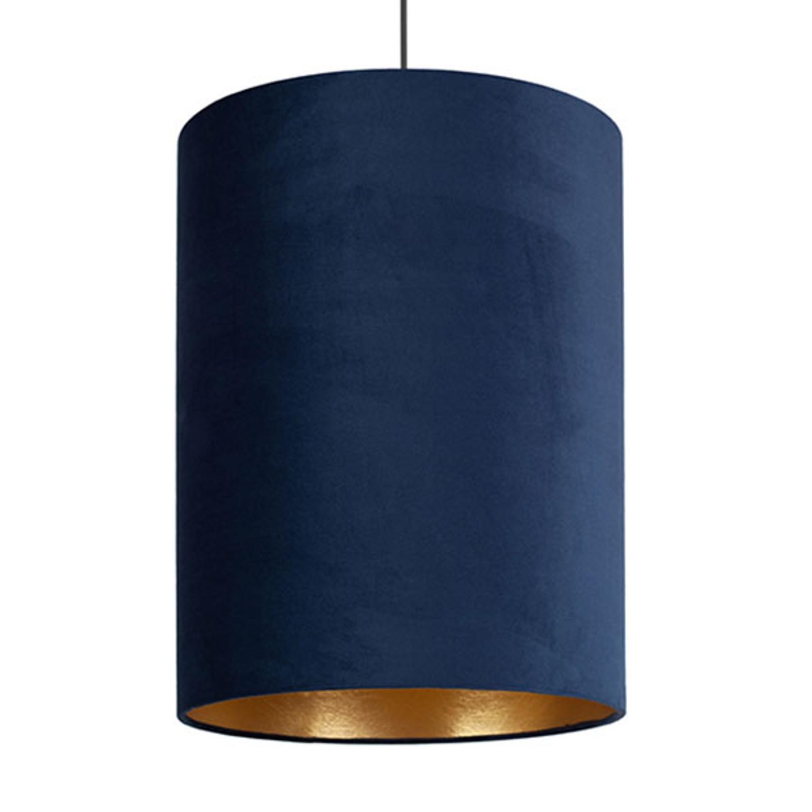 Hängelampe Barrel mit Schirm aus Samt, blau