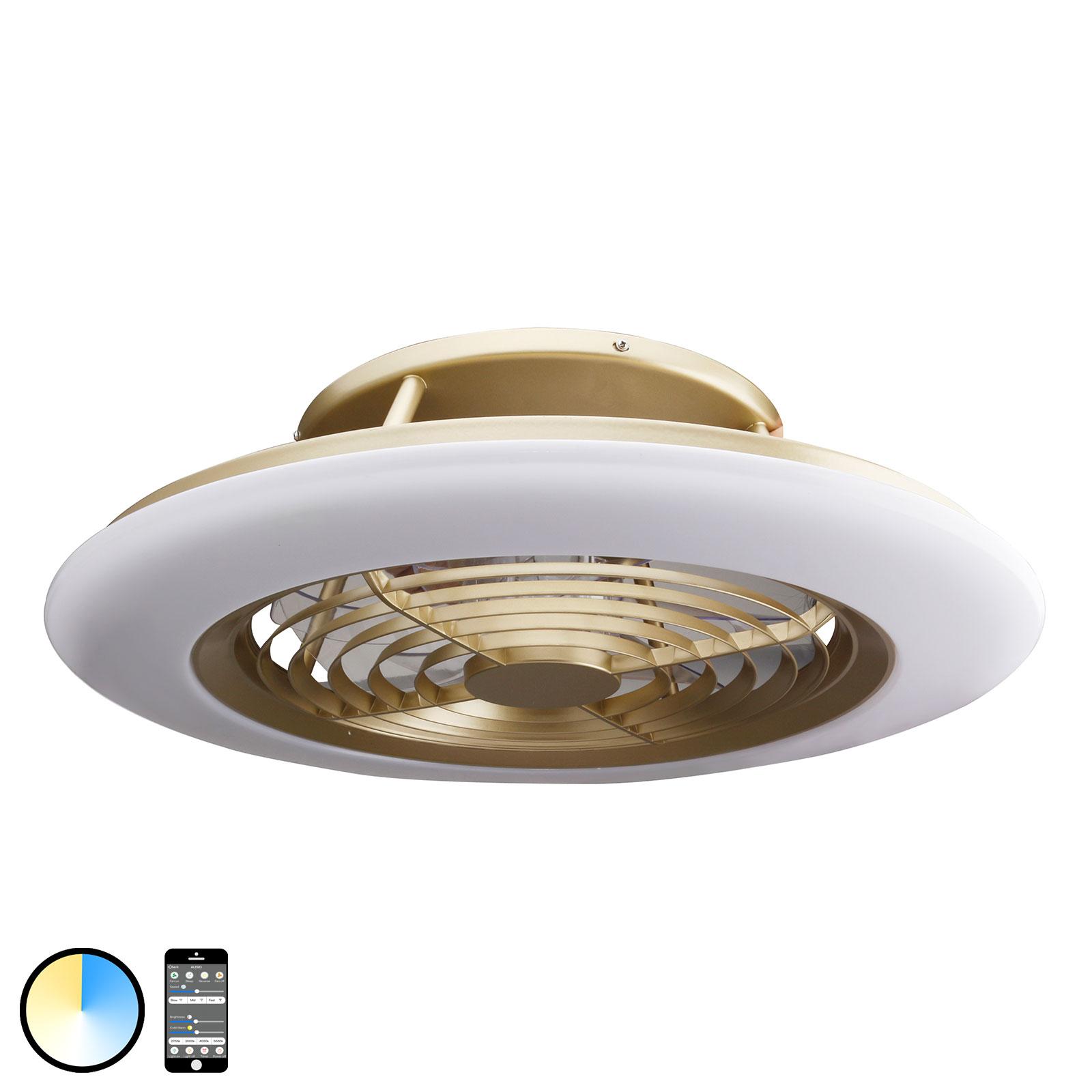 Ventilateur de plafond LED Alisio, appli, laiton