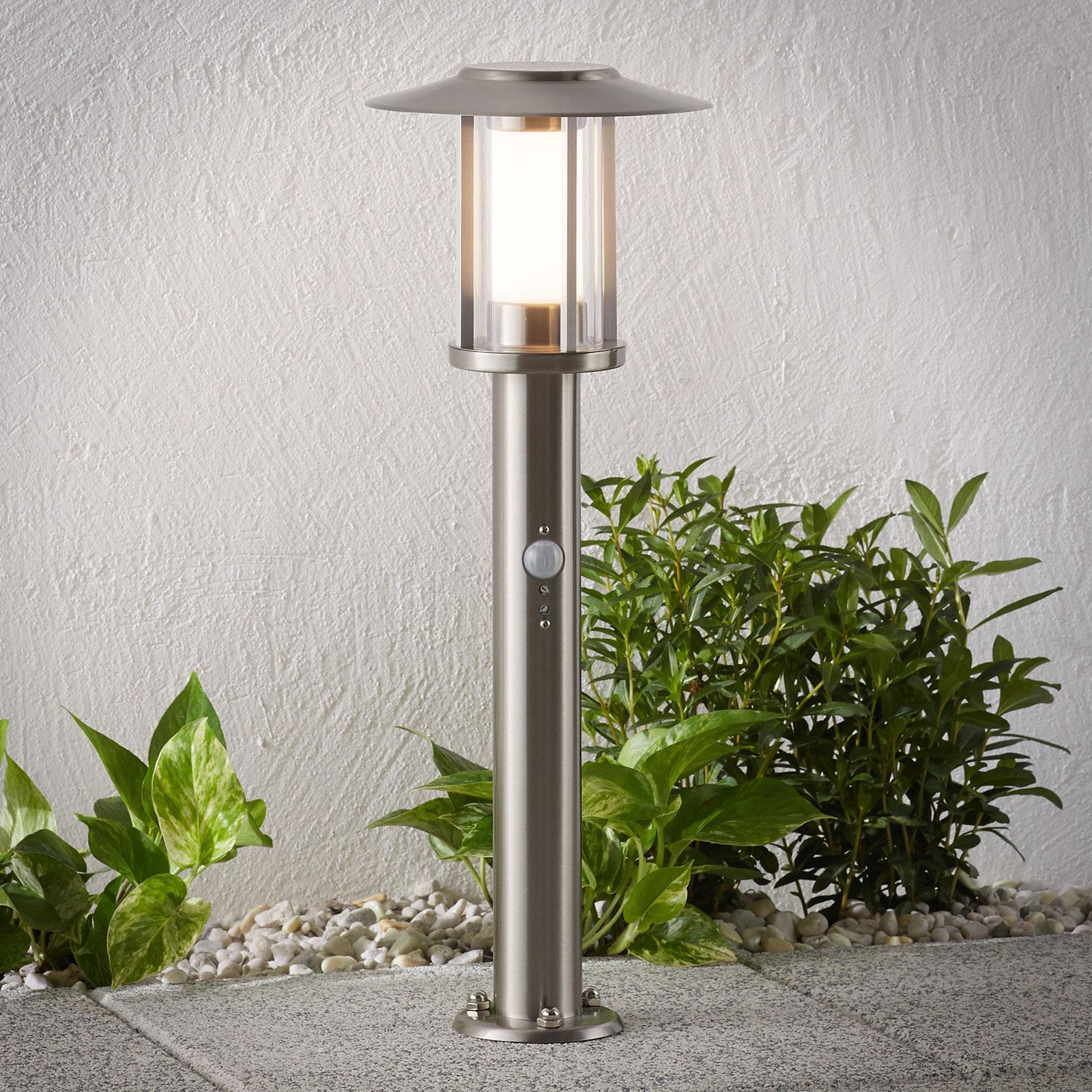LED-Sockellampe Gregory, Edelstahl, mit Sensor