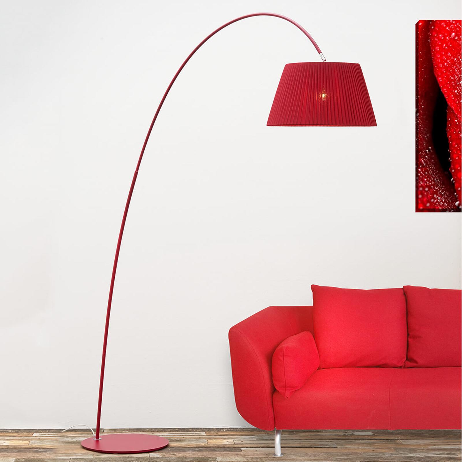 Łukowa lampa stojąca Marion w kolorze czerwonym