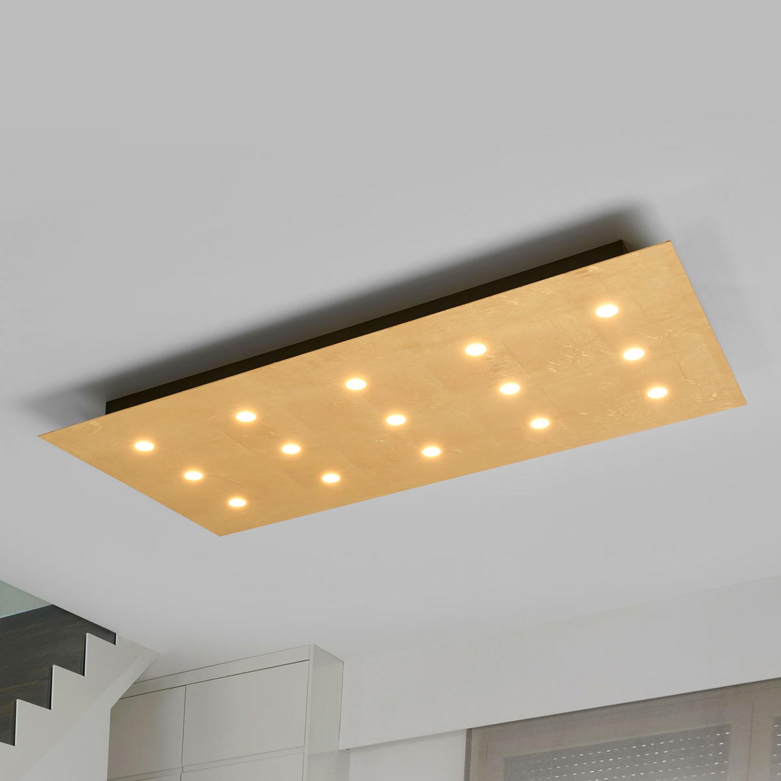 Met 15 LED's - dimbare plafondlamp Juri, goud