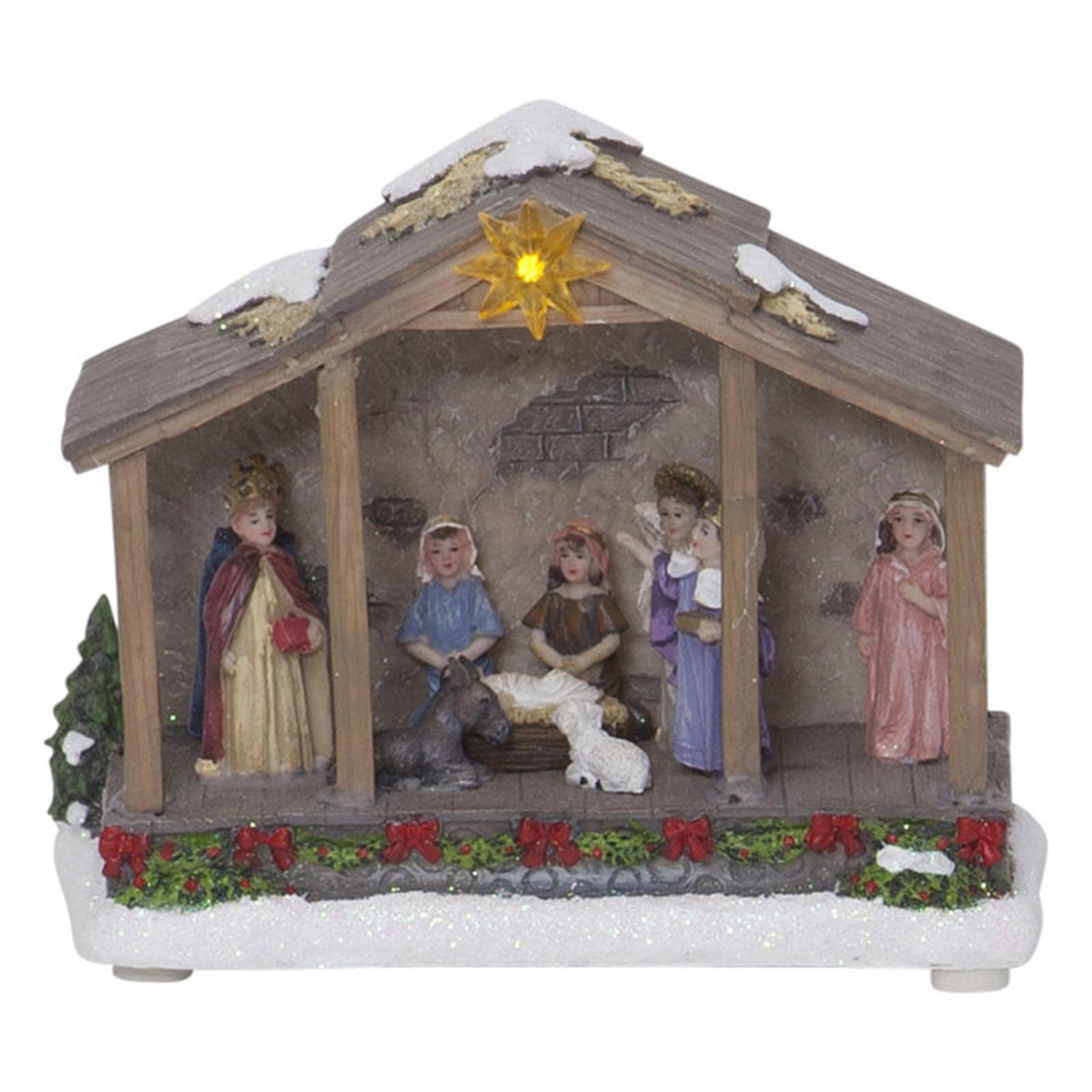LED-dekorbelysning Nativity, batteridrift, 19 cm