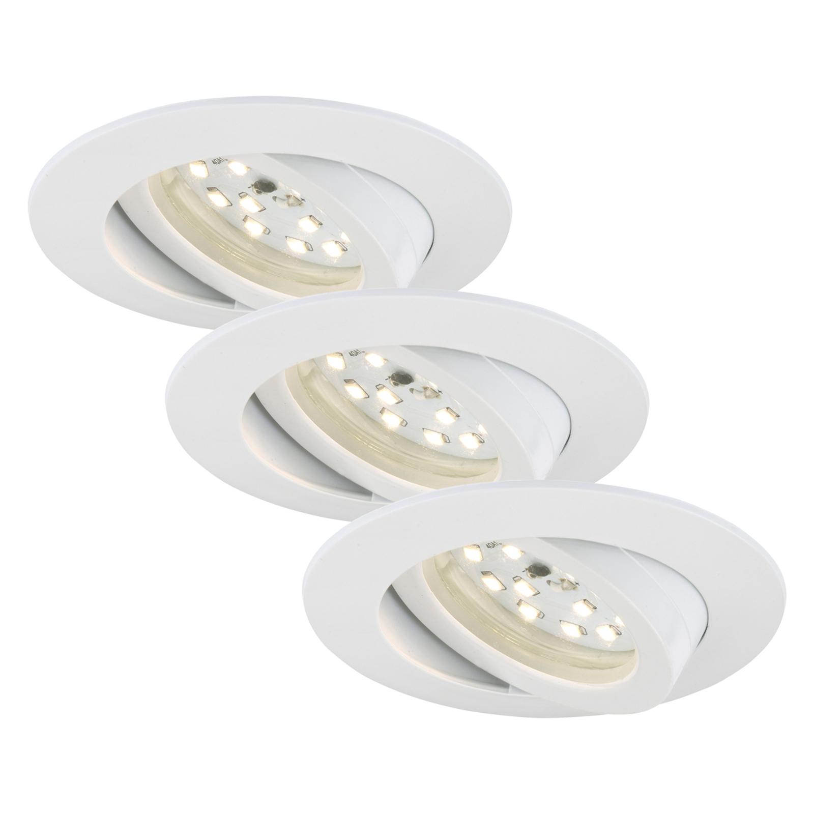 Svingbar LED-indbygningslampe Bert, sæt med 3 stk.