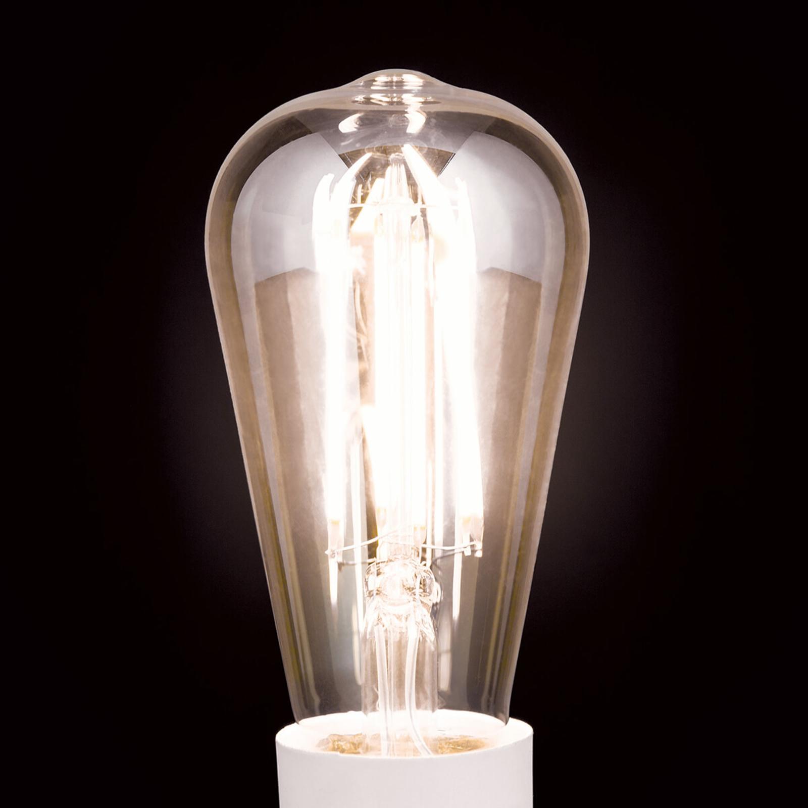 LED-pære rustikk E27 7W, varmhvit, dimbar