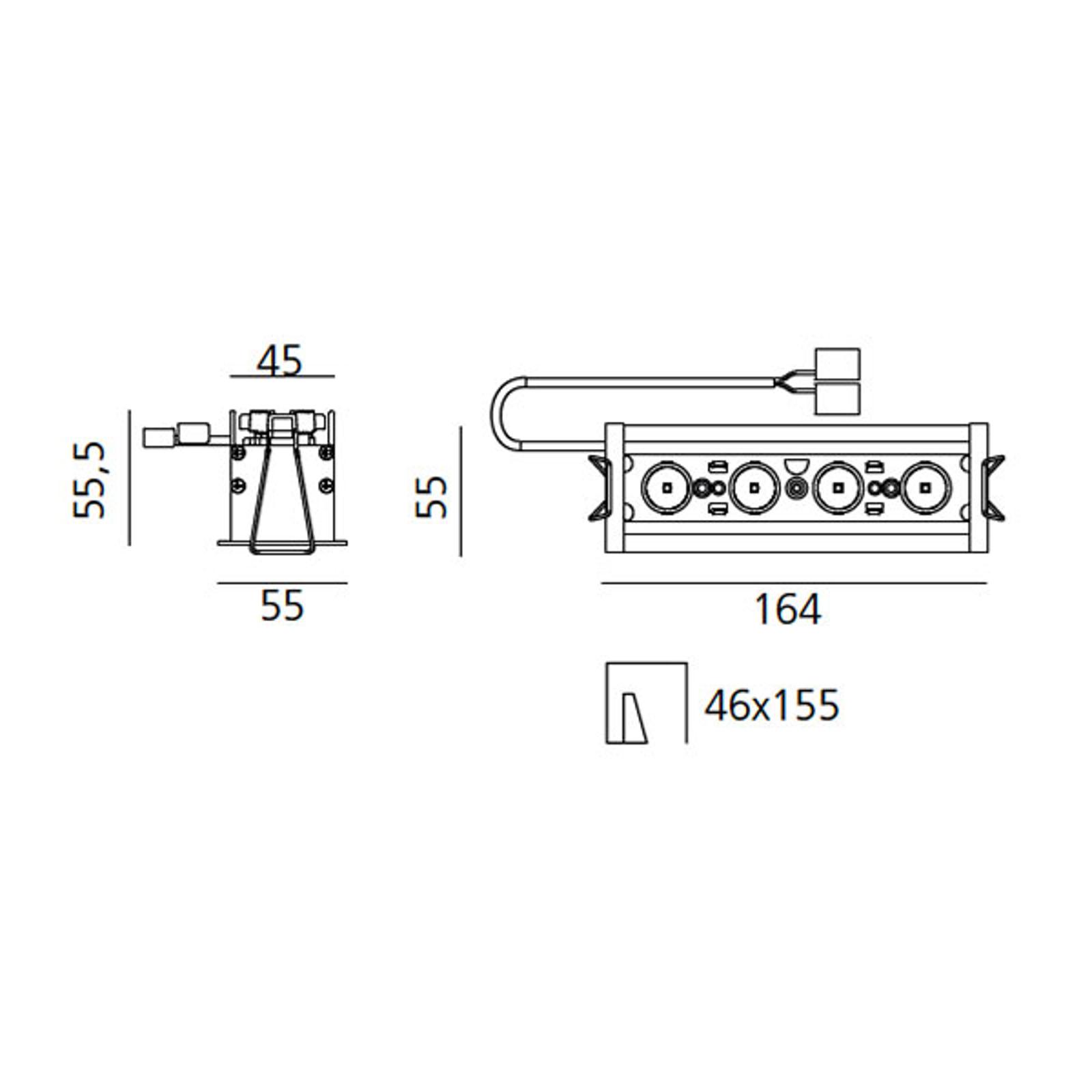 Artemide Einbaustrahler Sharp RCS TRIM 4-flg. 11W