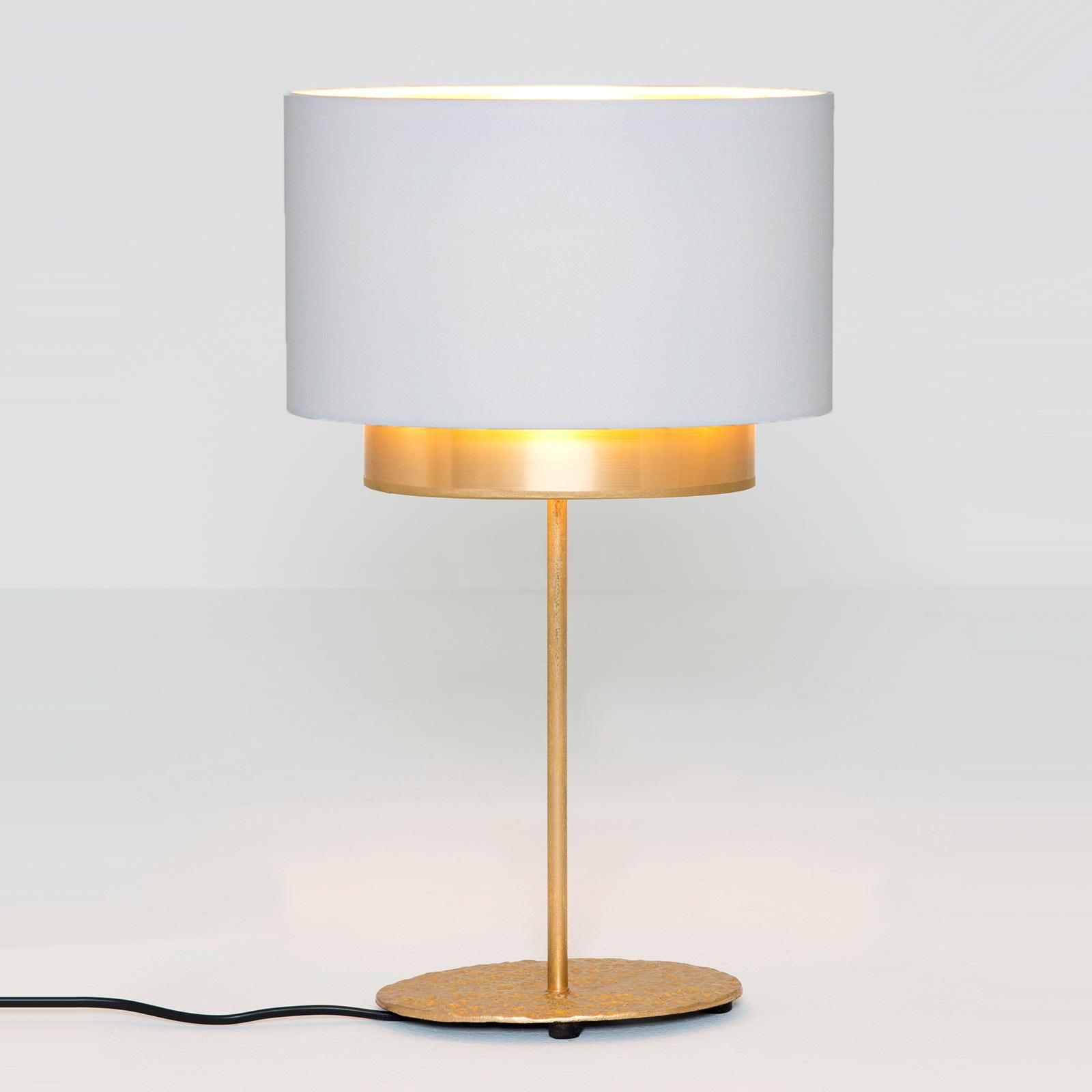 Lampe à poser Mattia, ovale, double, blanche/dorée