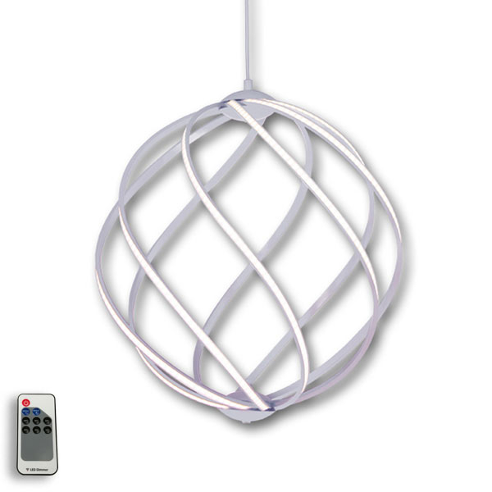 Suspension LED Twist élégante, aluminium Ø 46 cm