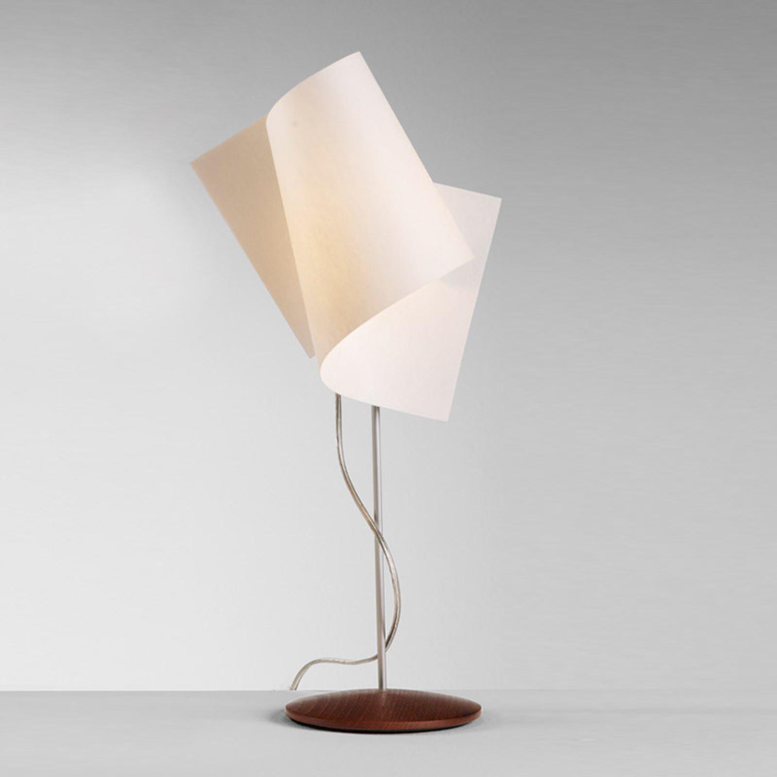 Interesująca lampa stołowa Loop orzech