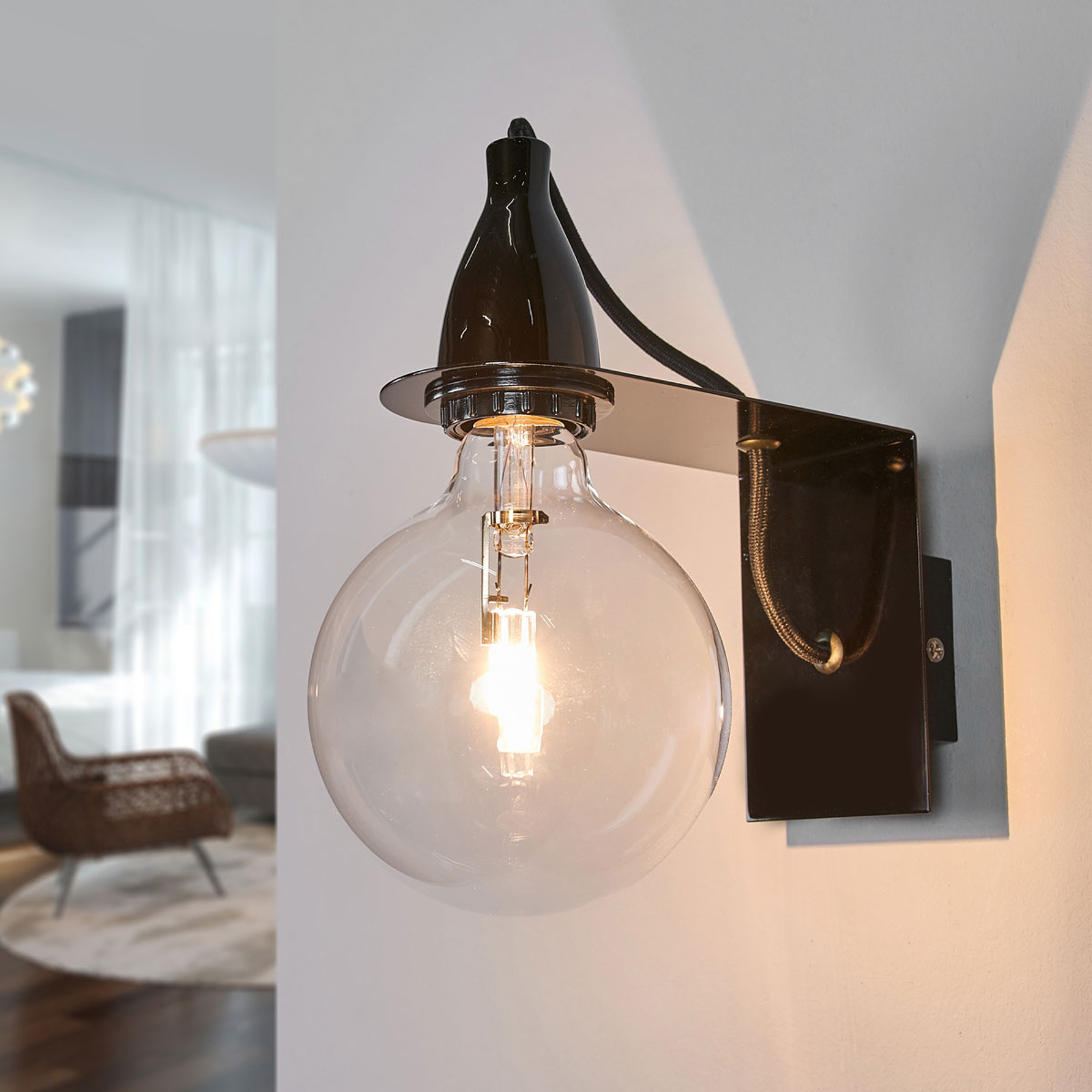 Schwarze Design-Wandlampe Minimal