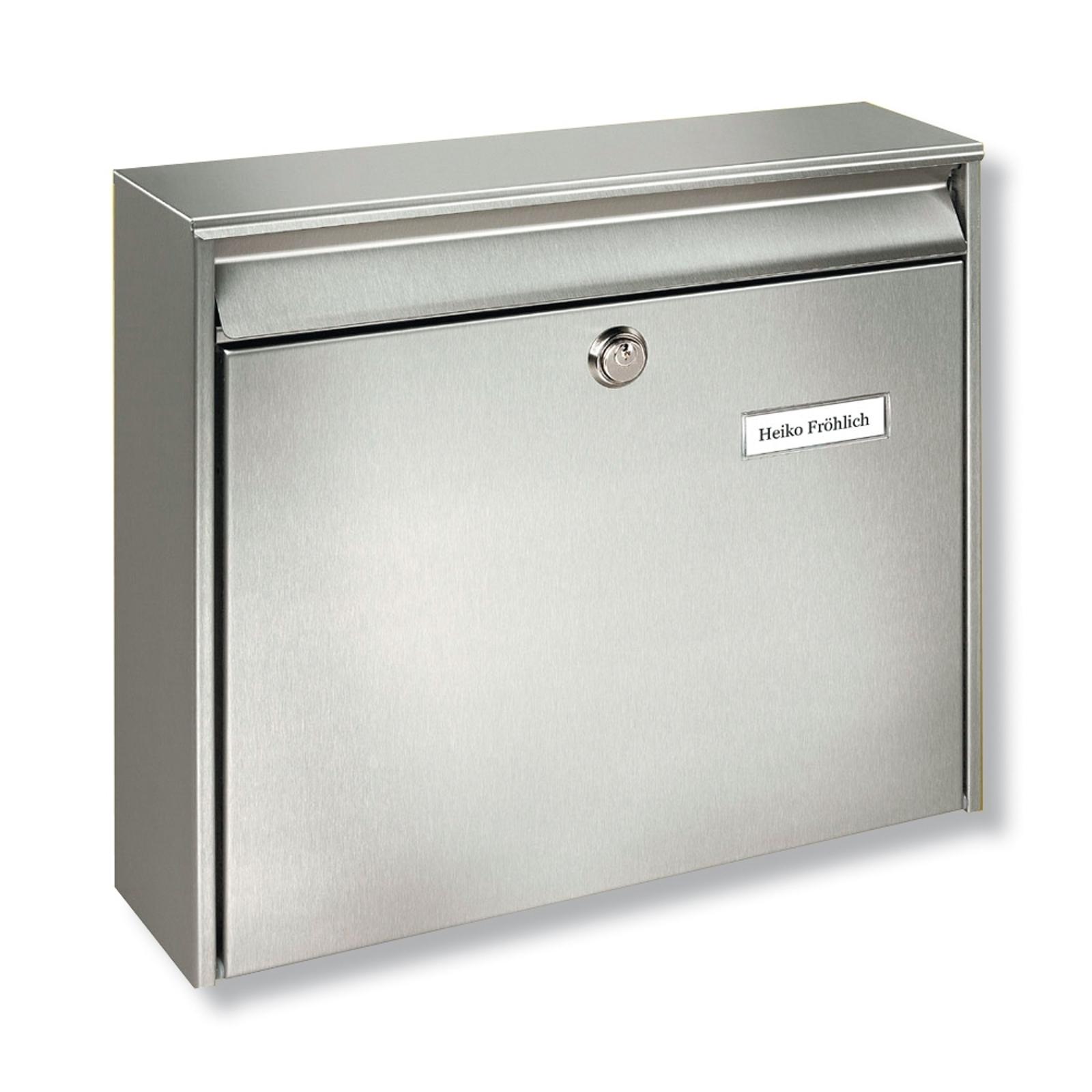 BORKUM postkasse, rustfrit stål til batterimont.
