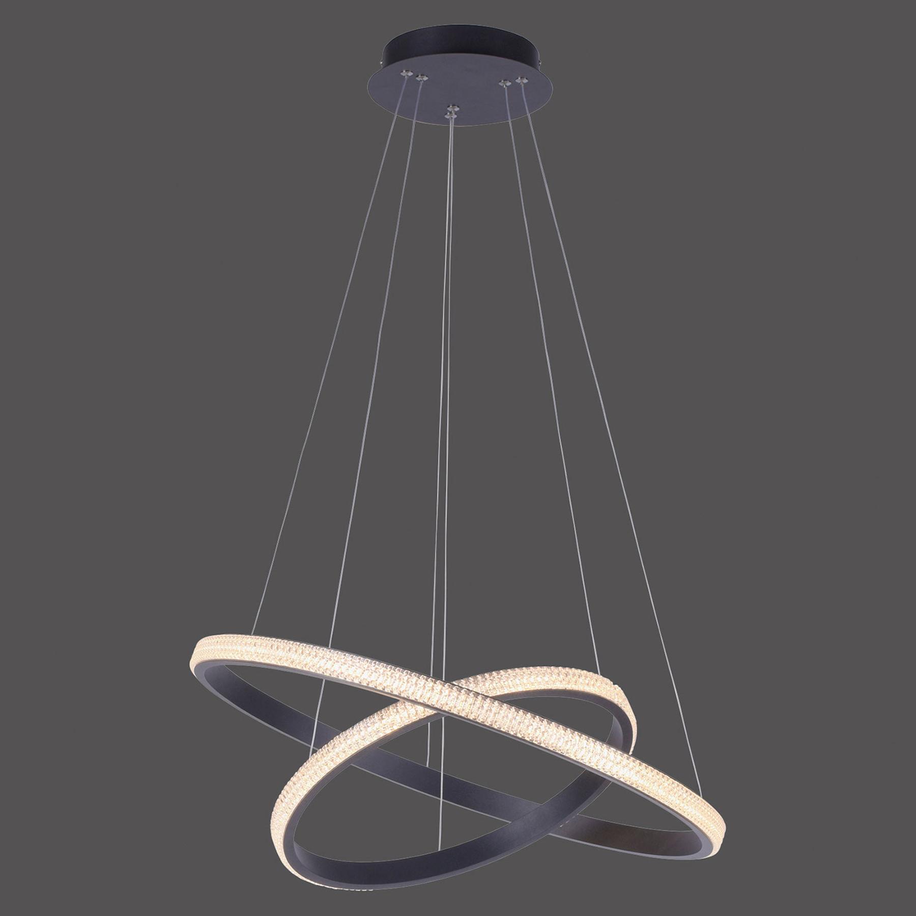 LED-Hängeleuchte Musa, 2 Ringe, schwarz, dimmbar
