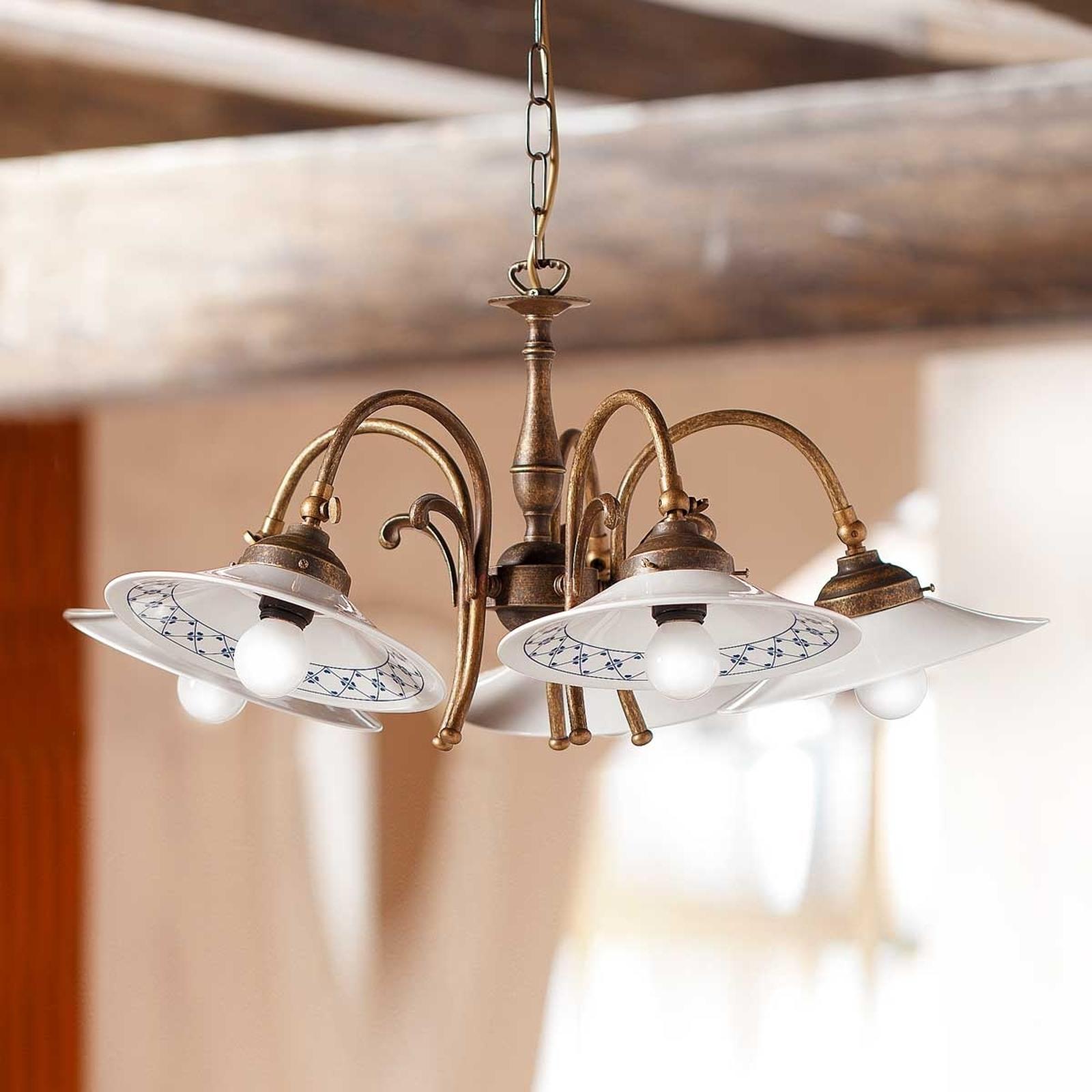 Landlig hængelampe ORLO, med 5 lyskilder