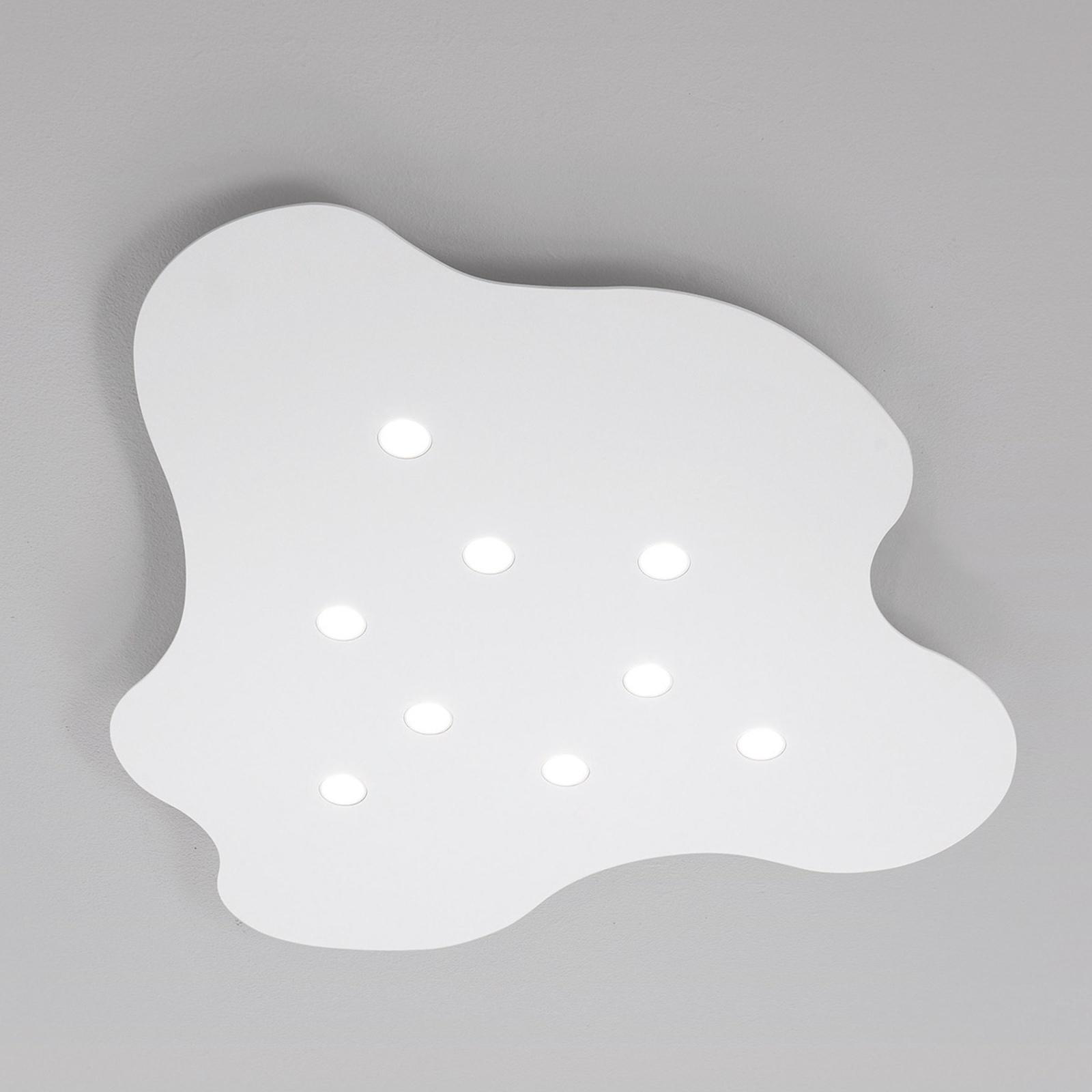 9-lichts LED-plafondlamp Nubes, wit