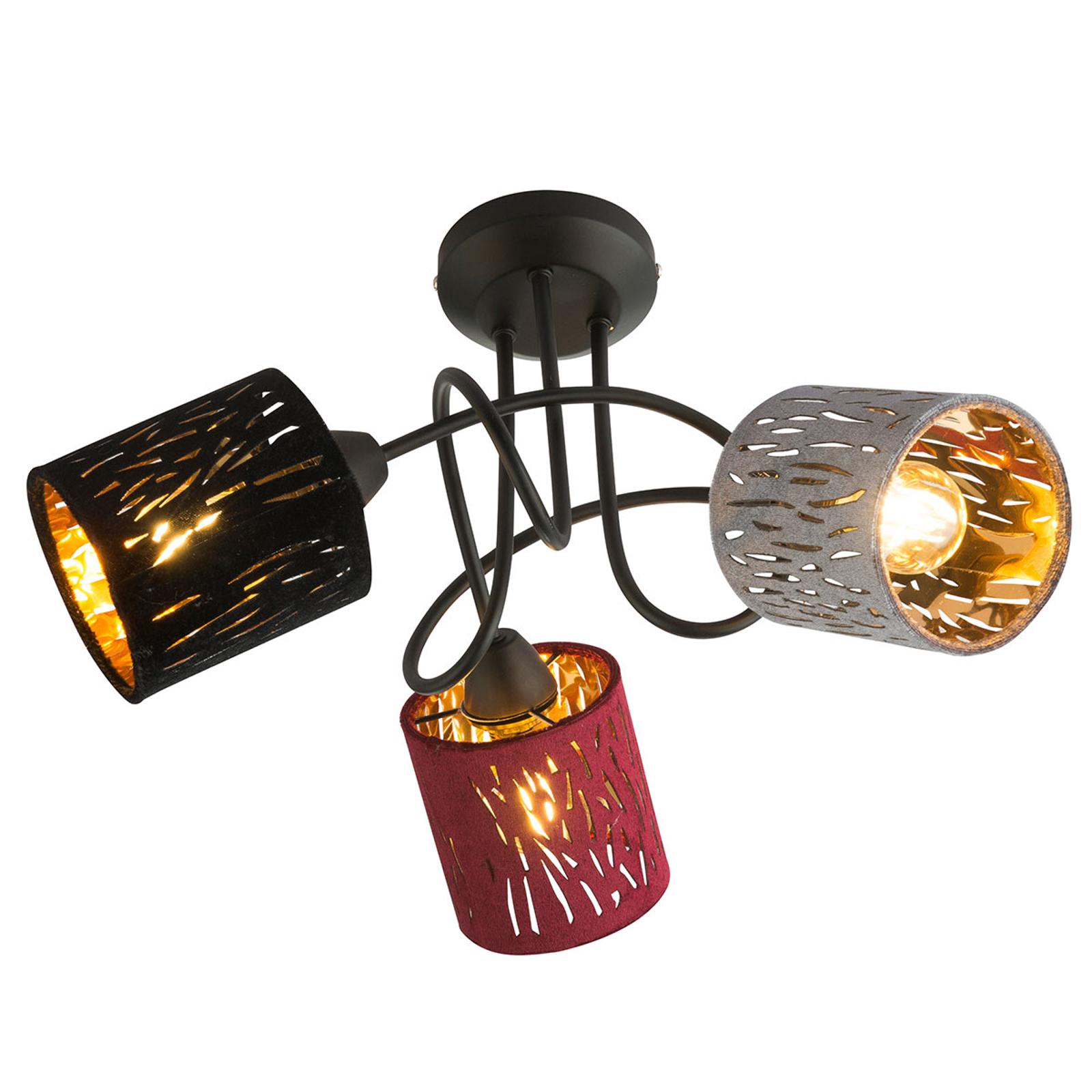 Lampa sufitowa Ticon z trzema kolorowymi kloszami