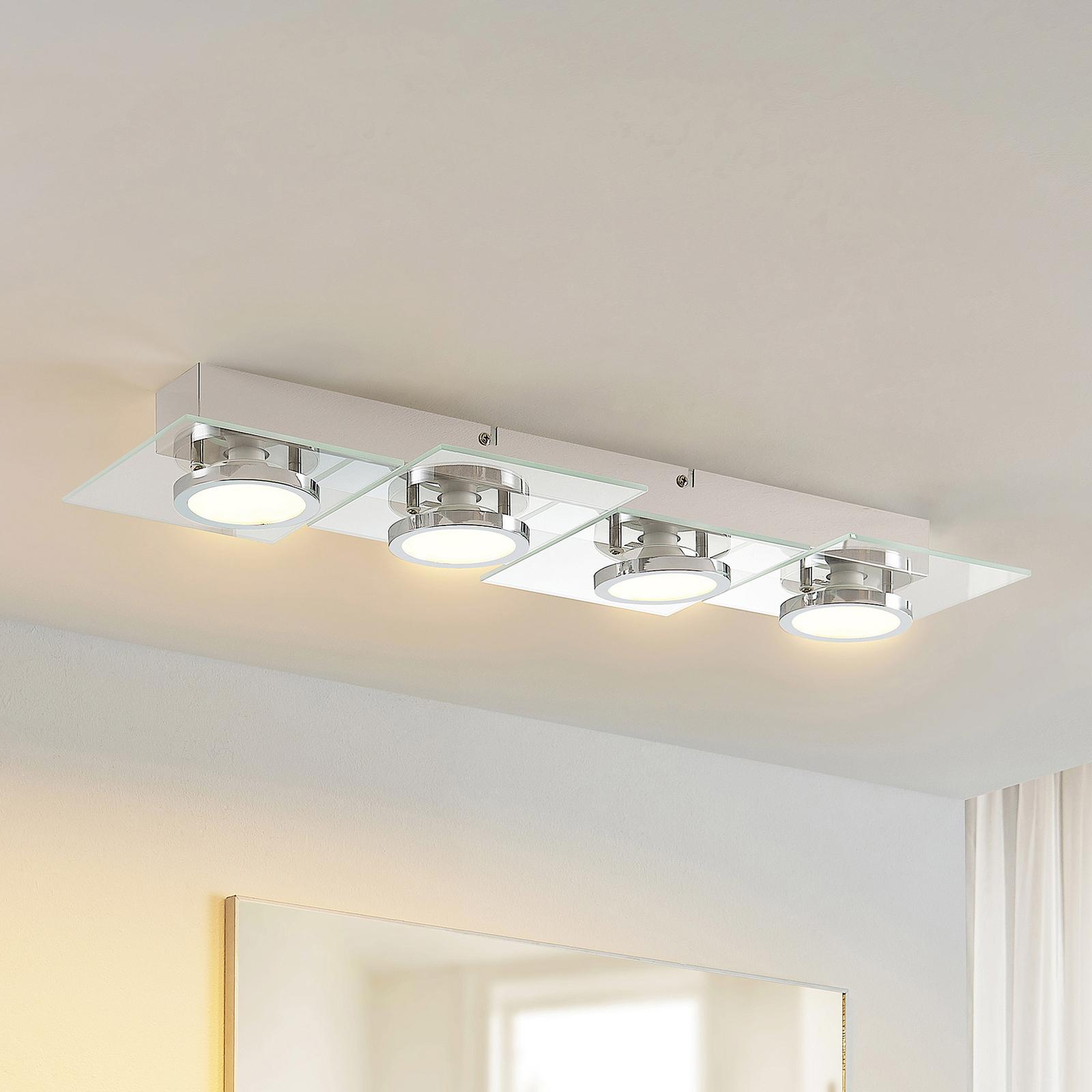 Lindby Imiria LED-Deckenlampe, Rechteck, 4-fl.