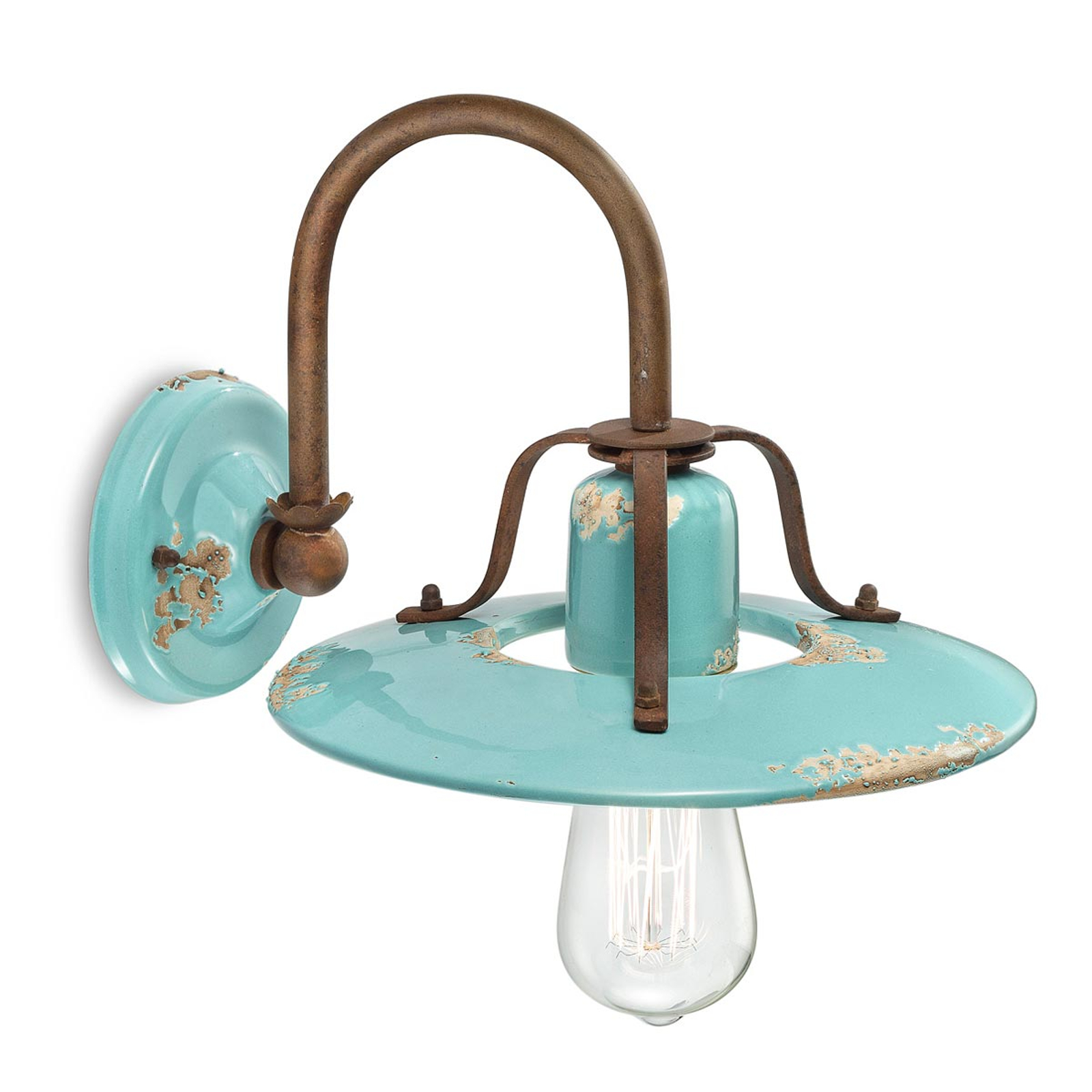 Applique Giorgia abat-jour en céramique turquoise