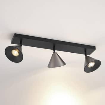 Lucande Kartio aplique, 3 luces, inclinable níquel