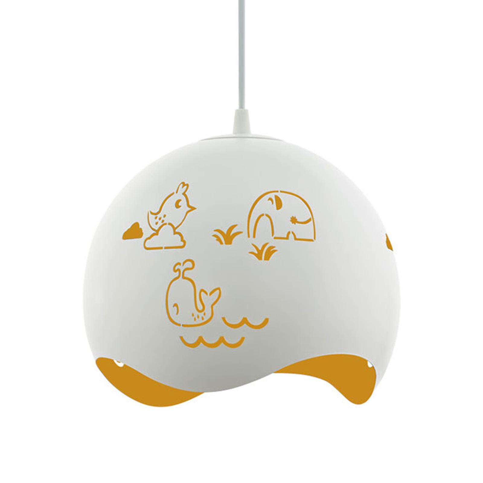 Lámpara colgante Laurina, animales blanco-amarillo