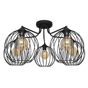 Deckenlampe Cumera mit Käfigschirmen, fünfflammig
