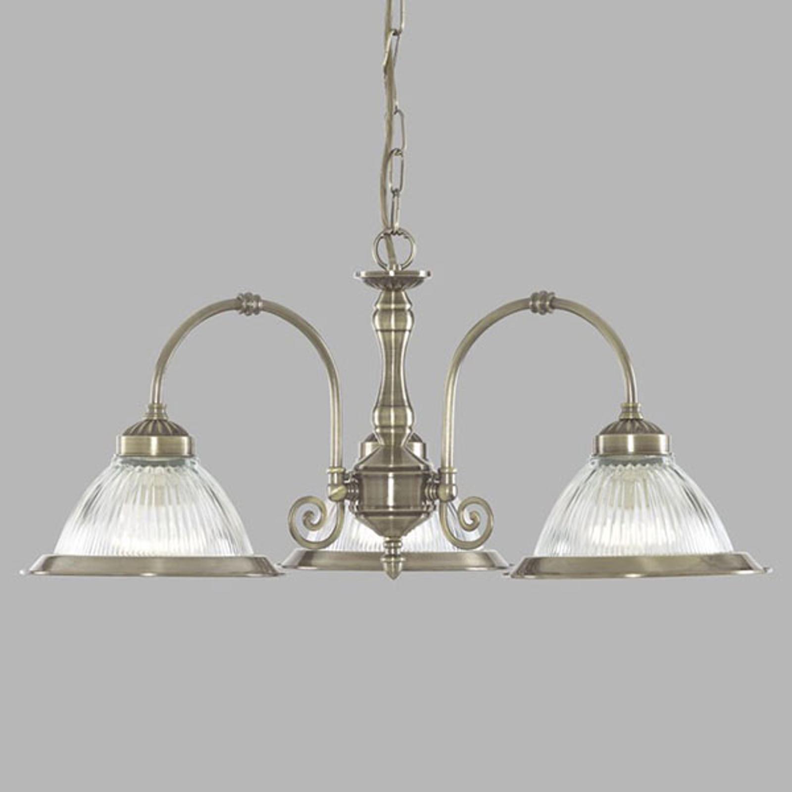 American Diner hængelampe, 3 lyskilder, messing