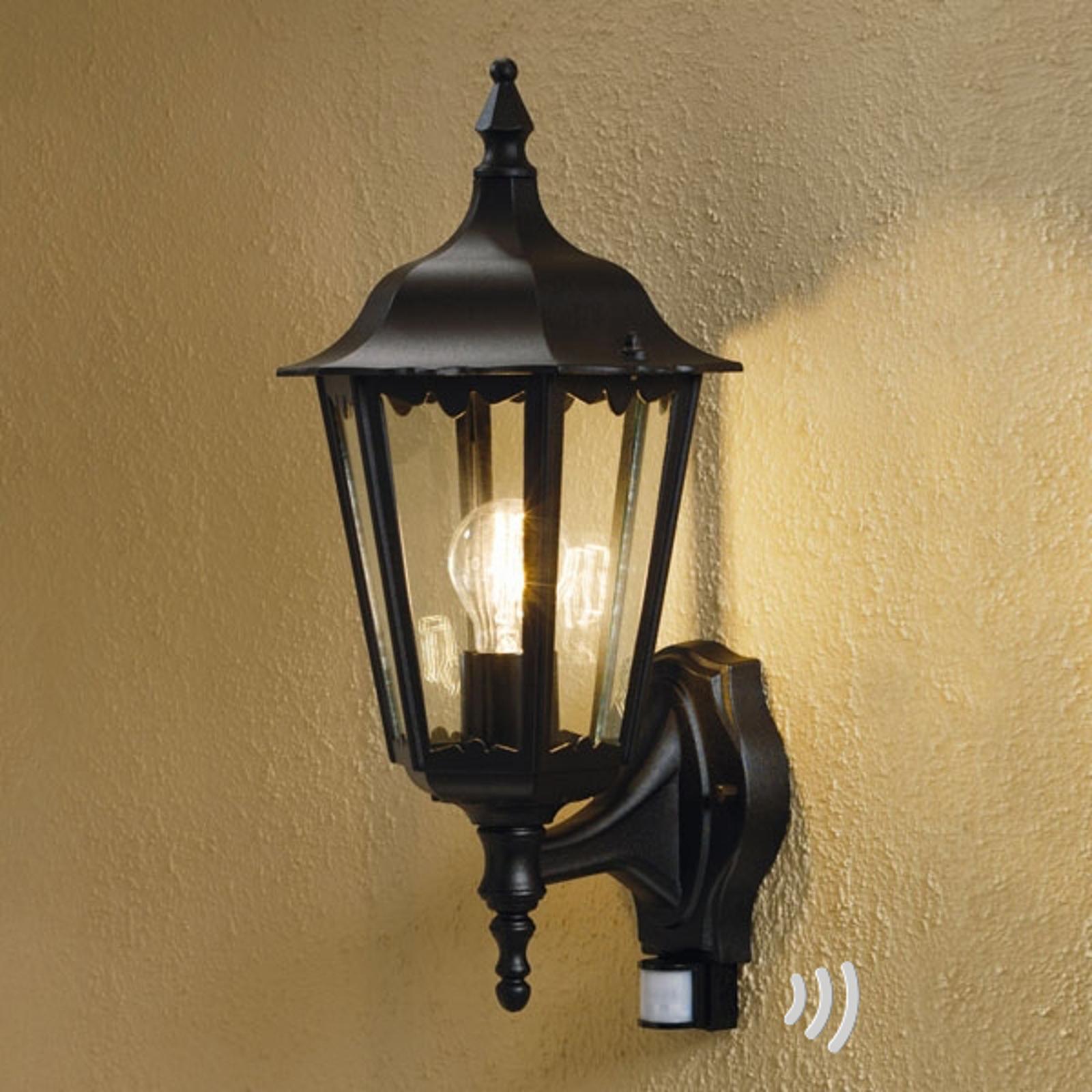 Buitenwandlamp Firenze, sensor, staand, zwart