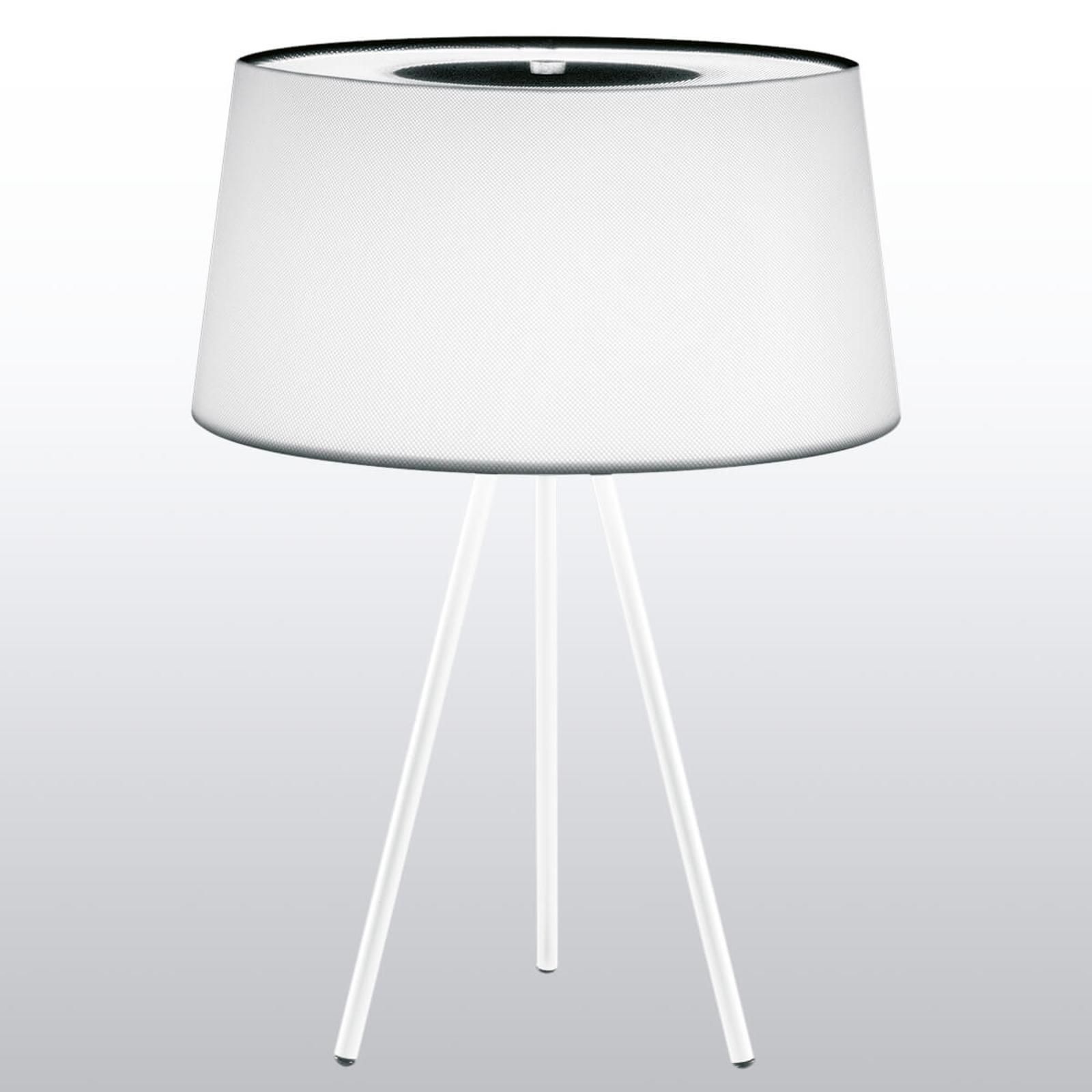 Førsteklasses bordlampe TRIPOD, hvid / hvidt stel