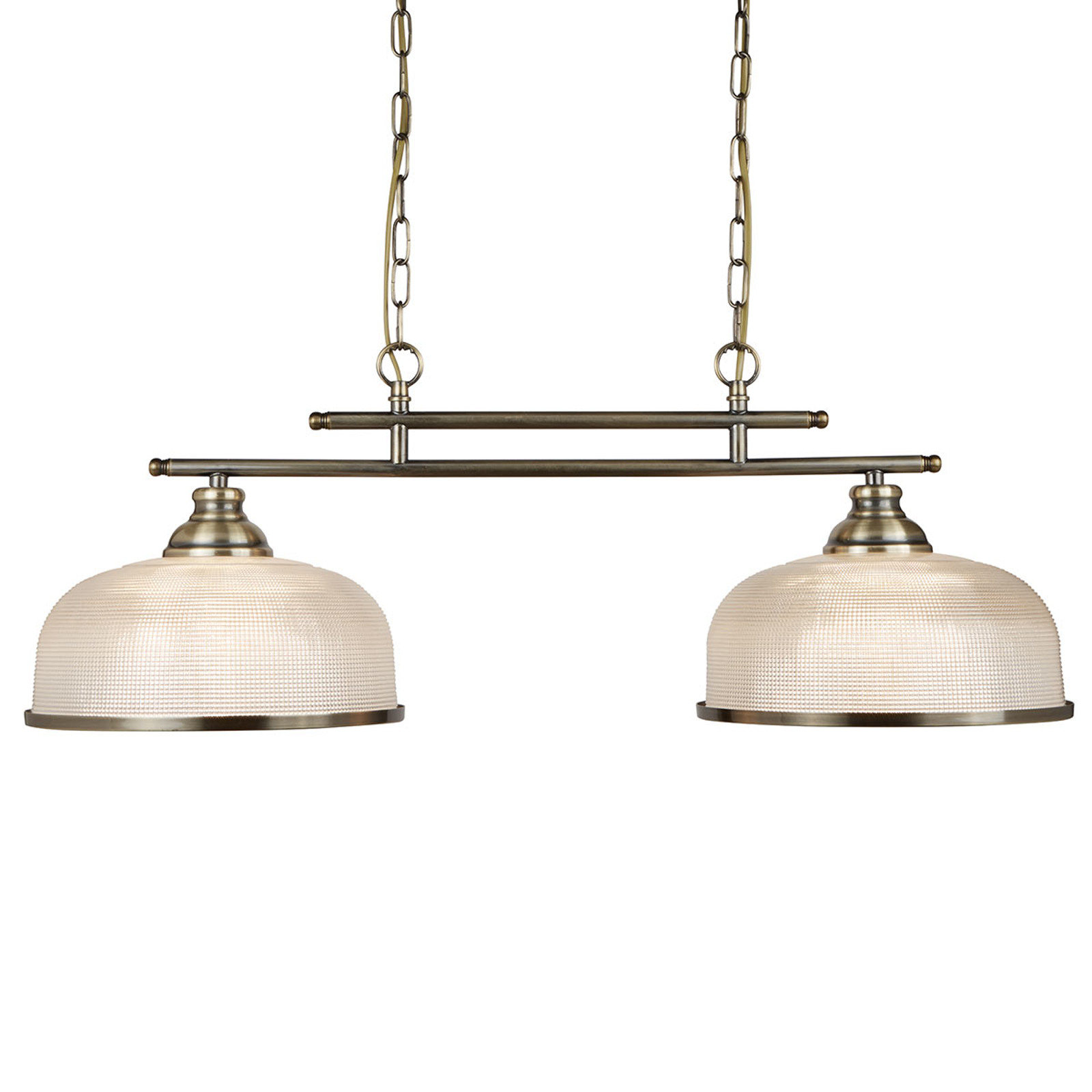 Holophanglas-hanglamp Bistro II 2-lamps messing