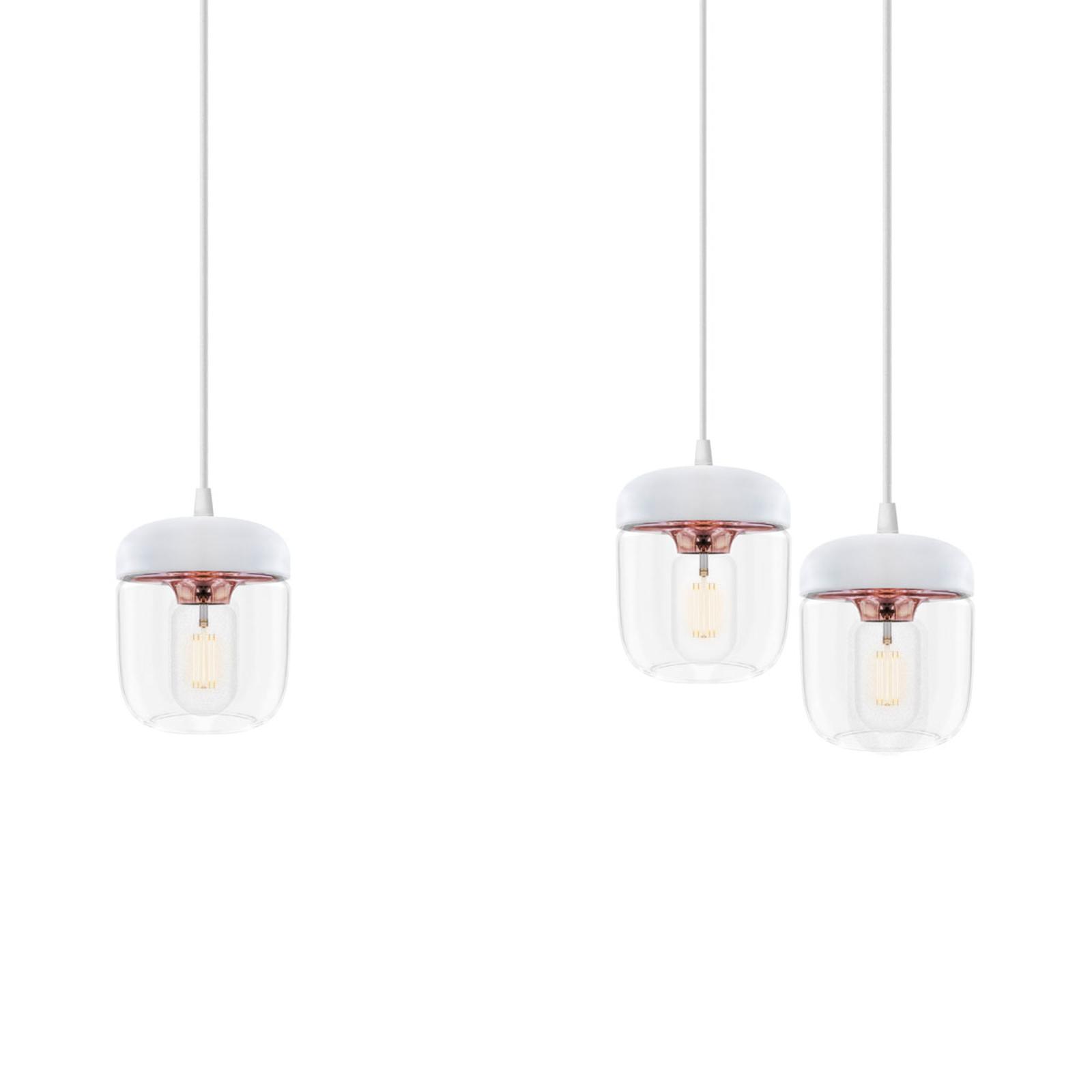 Suspension Acorn, à 3 lampes, blanc et cuivre