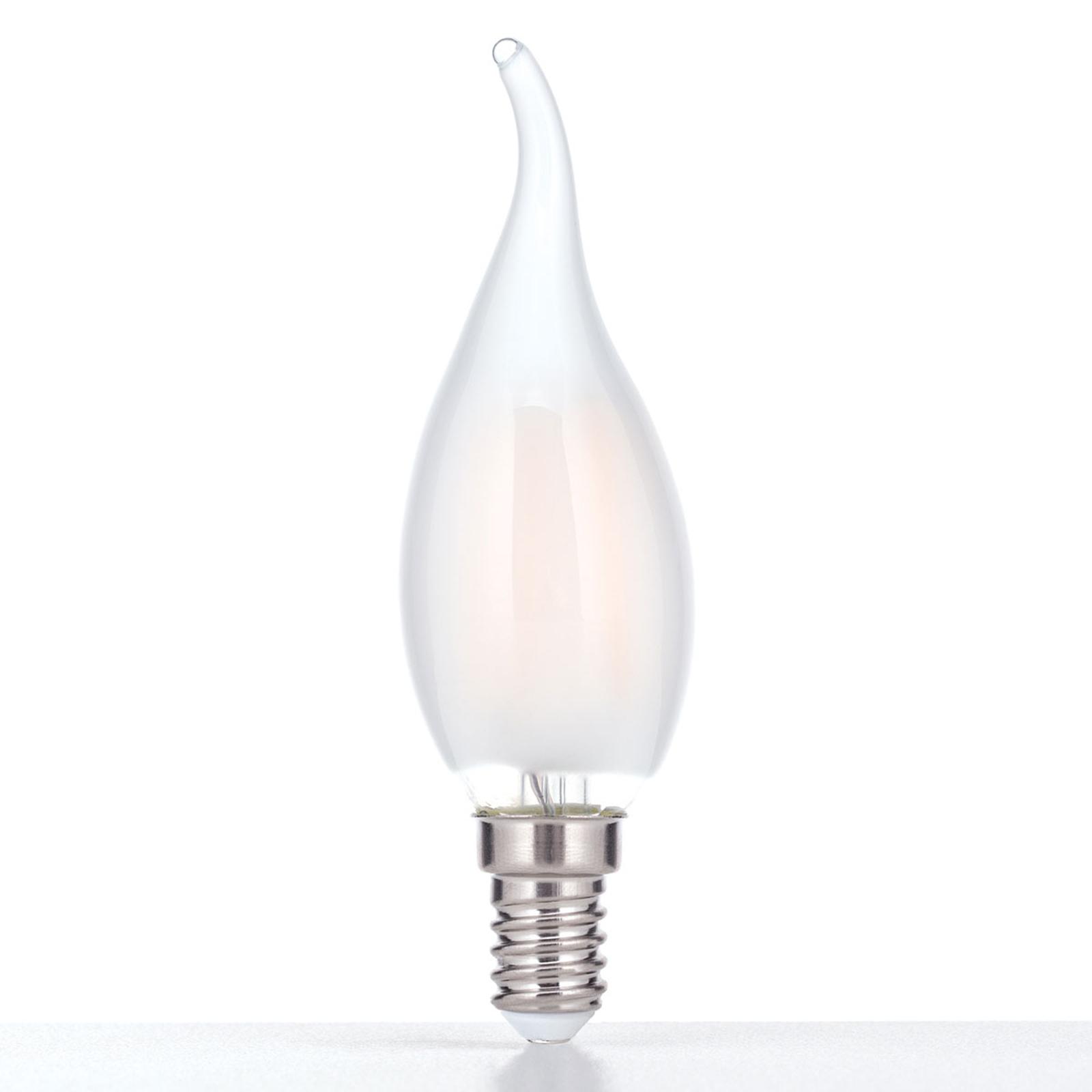 LED-lyspære i flammeform E14 4W, varmhvit, dimbar