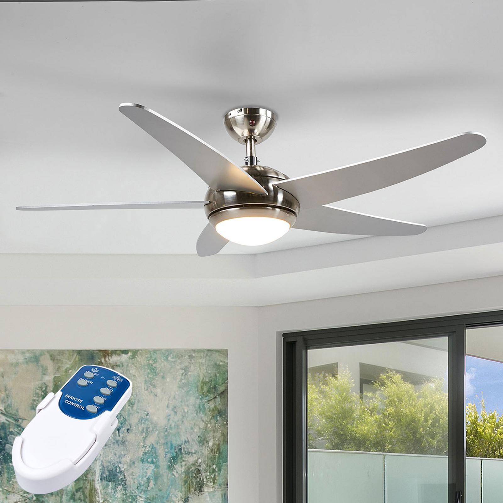 Ventilador de techo Anneka plateado con luz LED