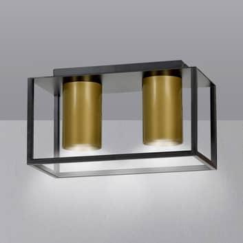 Tiper loftspot med ramme, 2 lyskilder, sort-guld