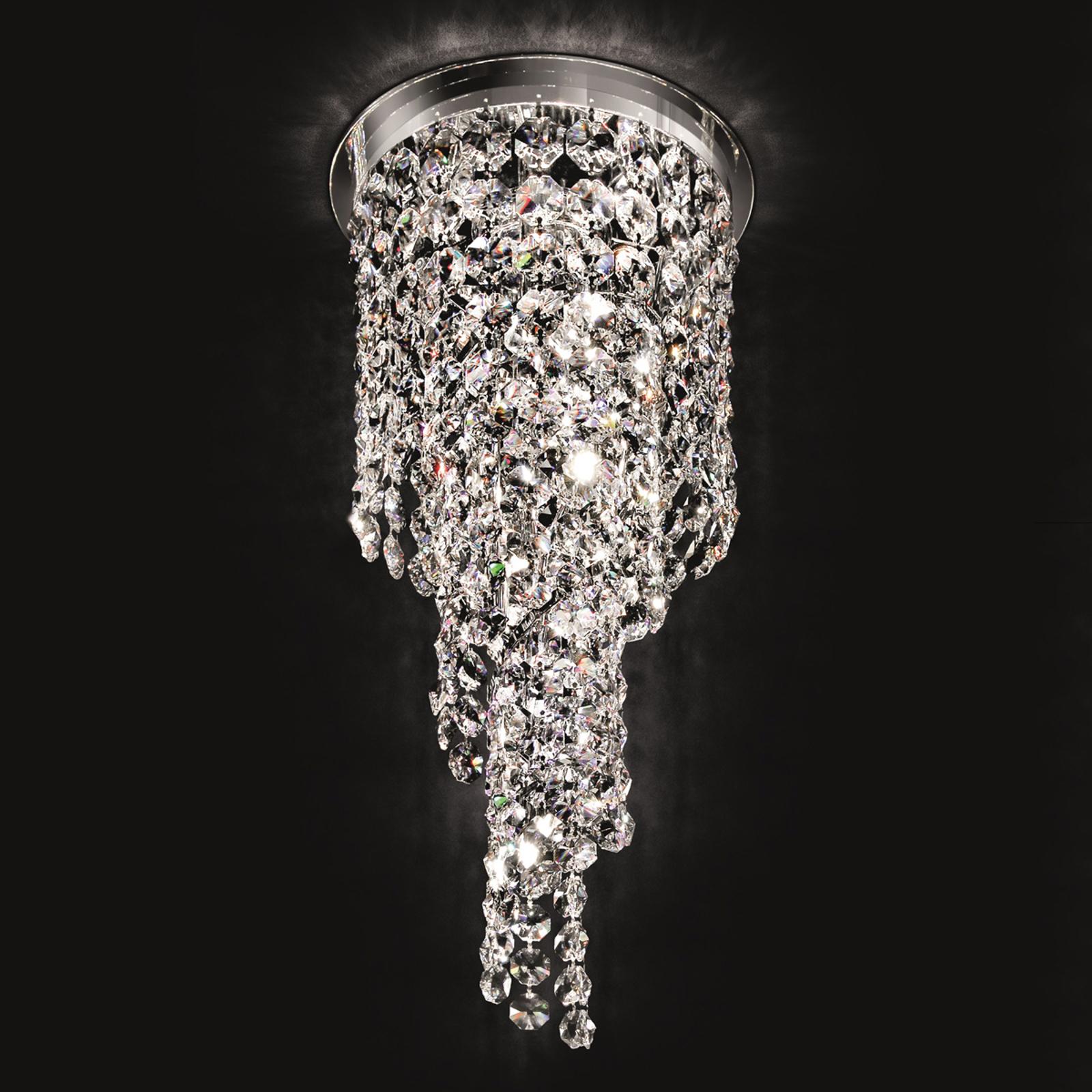 Spiralförmige Kristalldeckenleuchte Shine, 30 cm