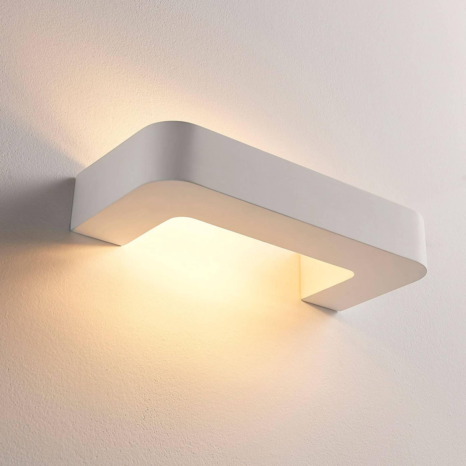 Beugelvormige LED wandlamp Julika, wit gips