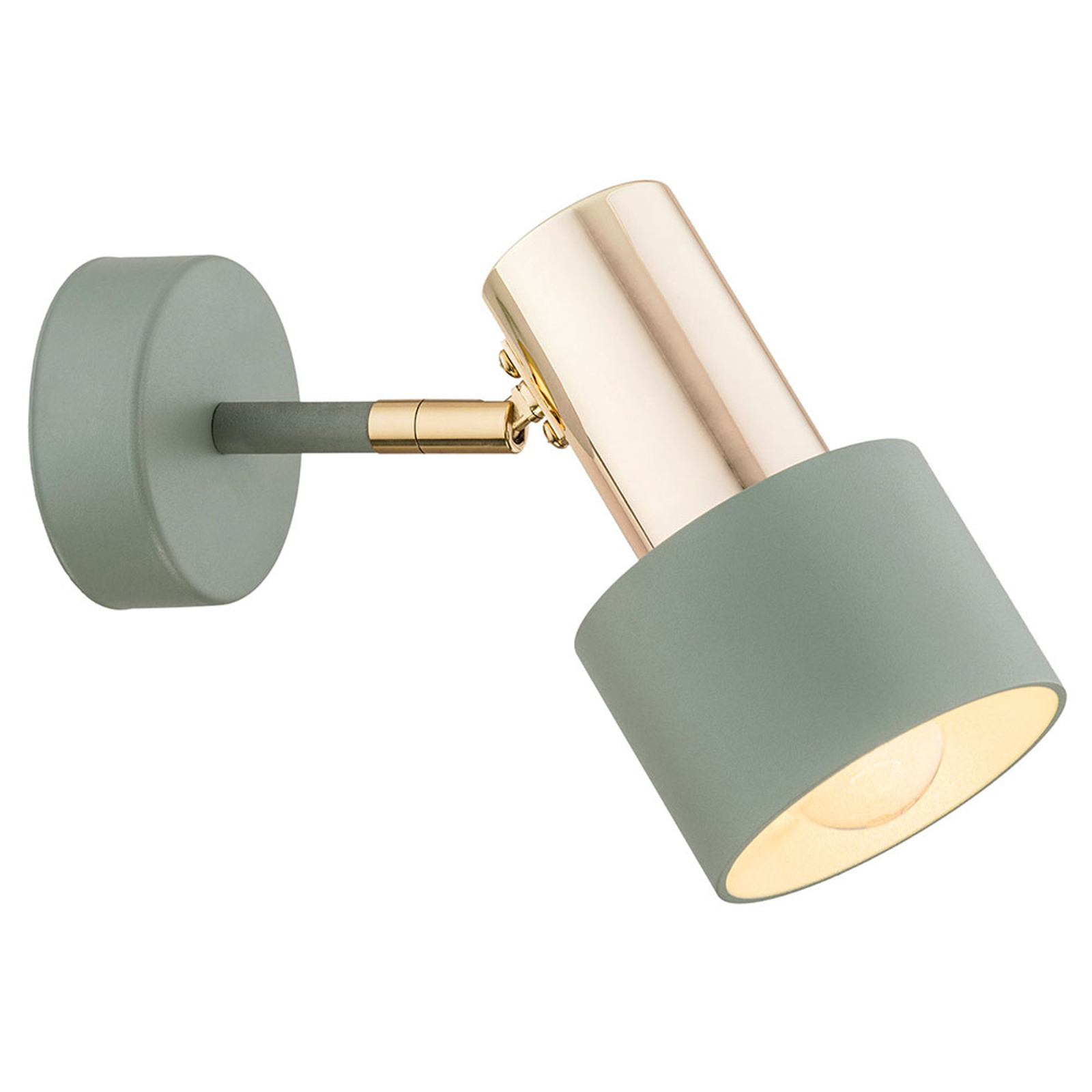 Destin vægspot, 1 lyskilde, grøn/messing