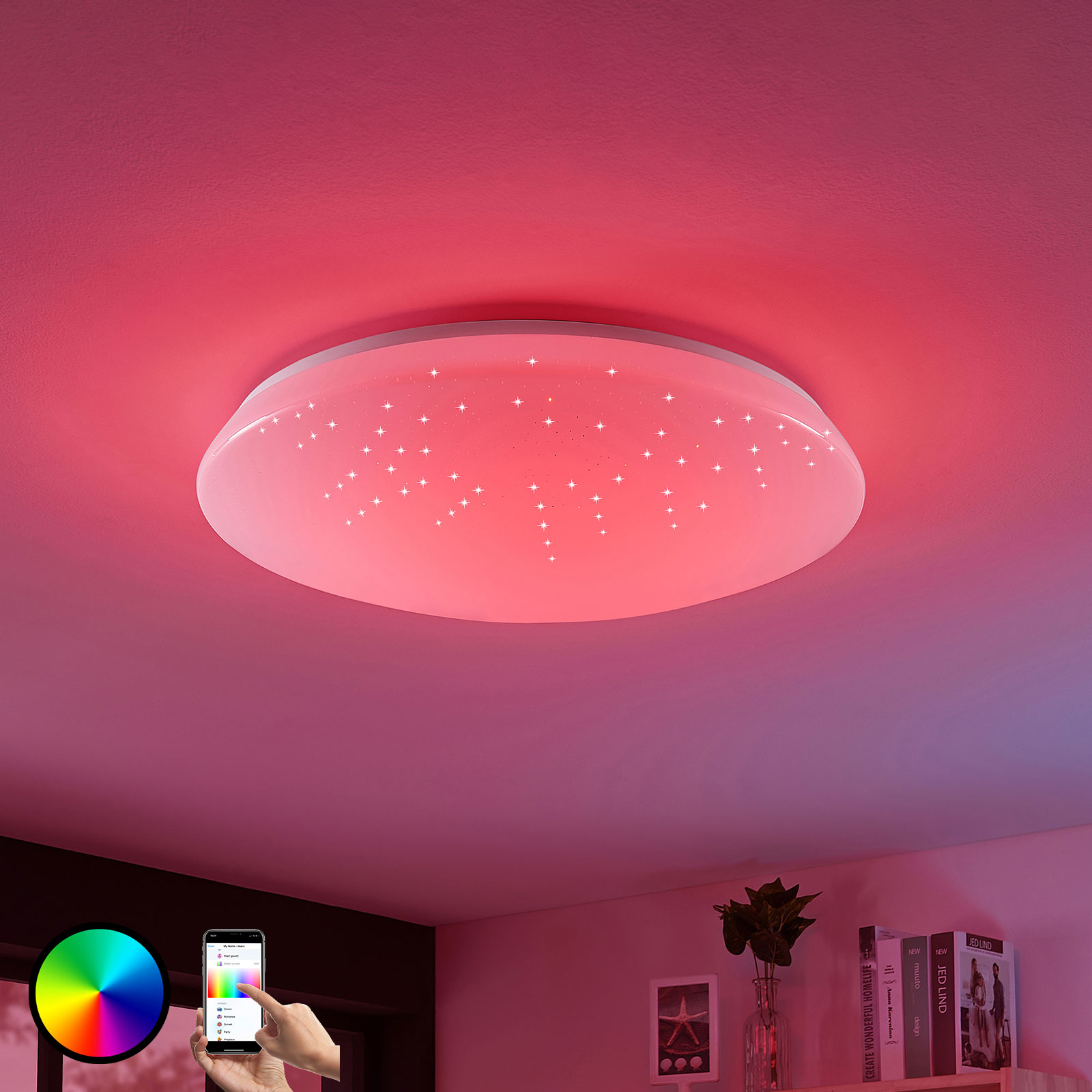 LED-taklampe Jelka, WiZ, RGBW-fargeveksel, rund