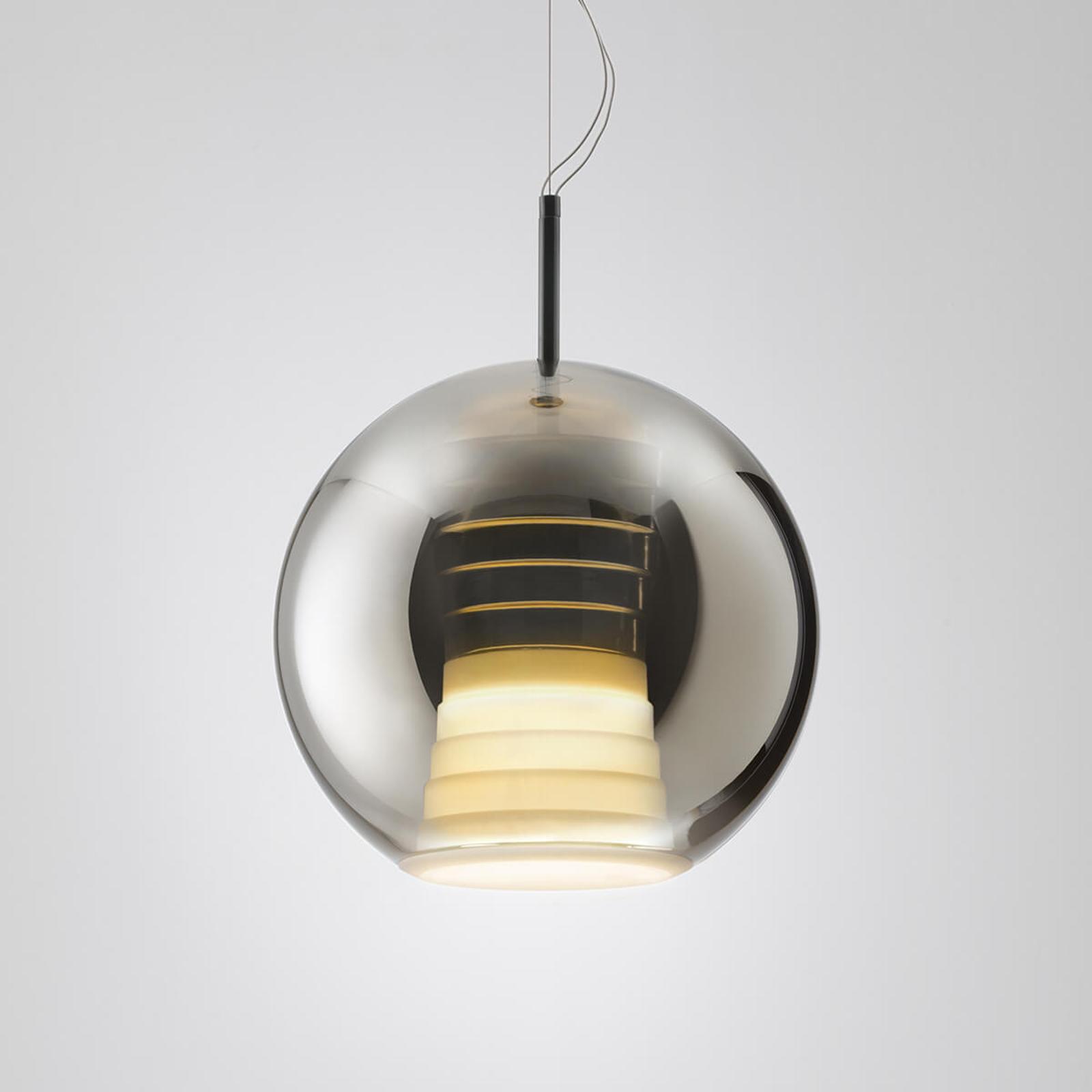 Suspension LED en verre Beluga Royal, titane