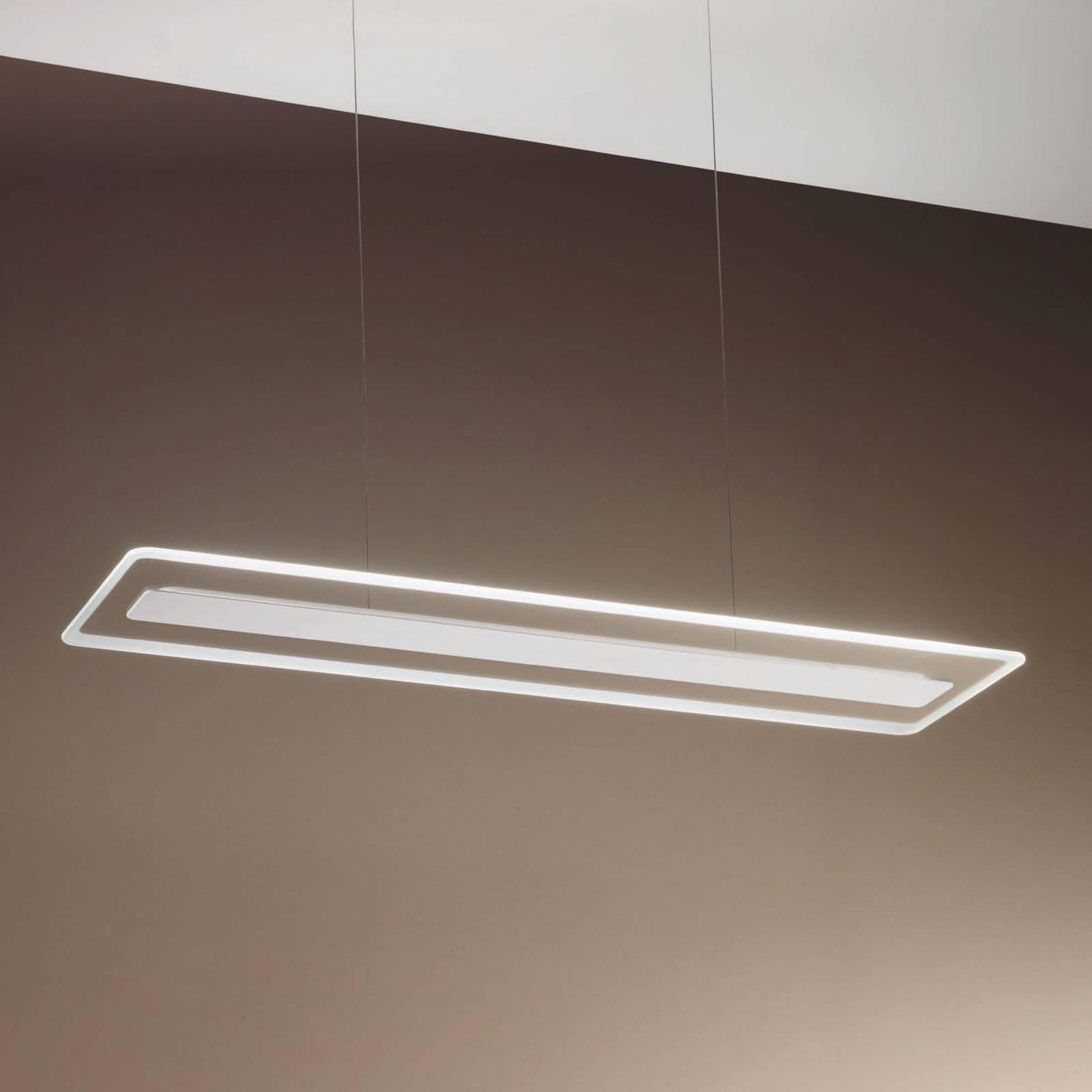 Suspension LED Antille verre rectangulaire blanche