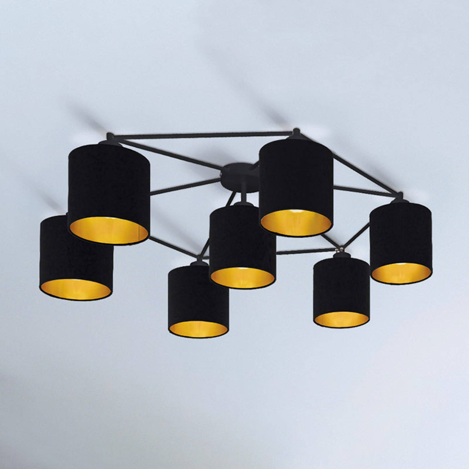 Plafondlamp Staiti zwart met kappen