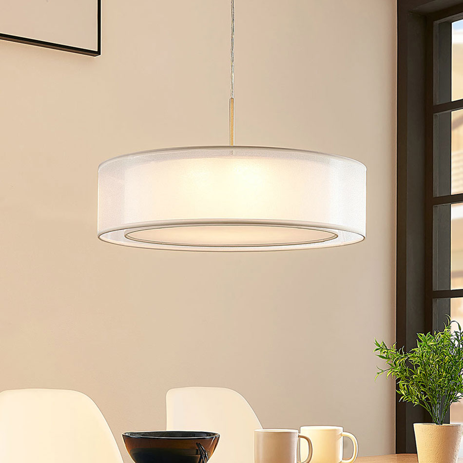 Stoffpendelleuchte Amon mit dimmbaren LEDs, weiß