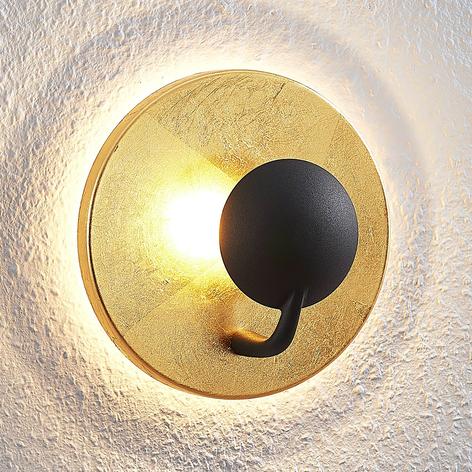 Lindby Lou kinkiet LED w kolorze czarno-złotym