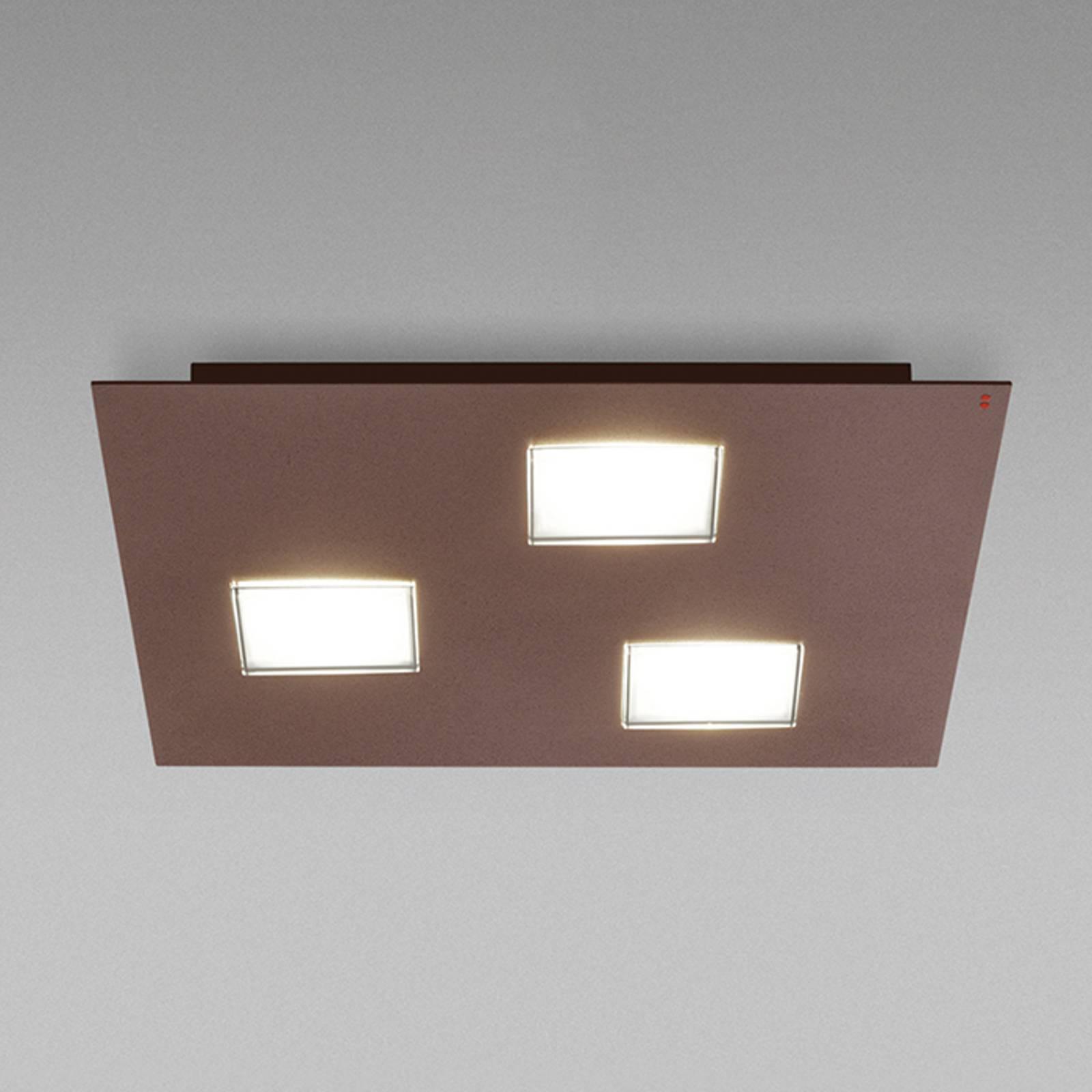 Bruine plafondlamp Quarter met 3 LED's