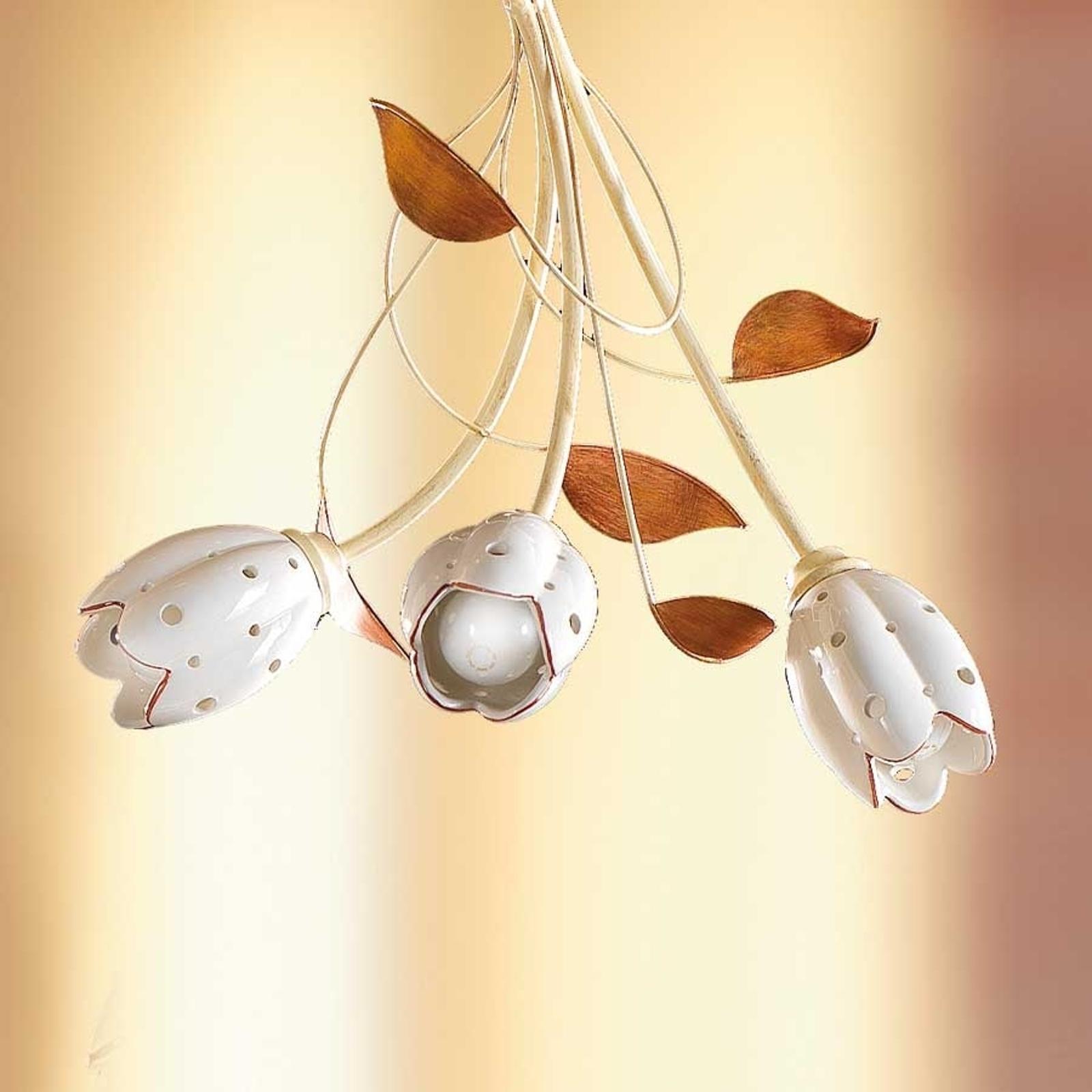 Lampada sospesa floreale TULIPANO, 3 punti luce