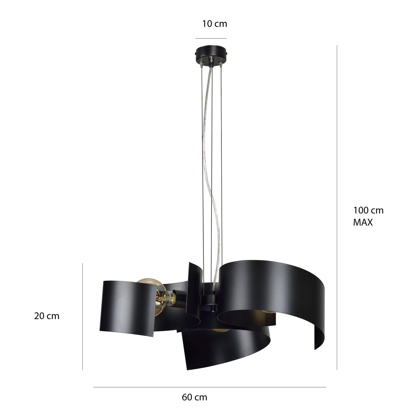 Suspension Eos 3 Black en acier laqué